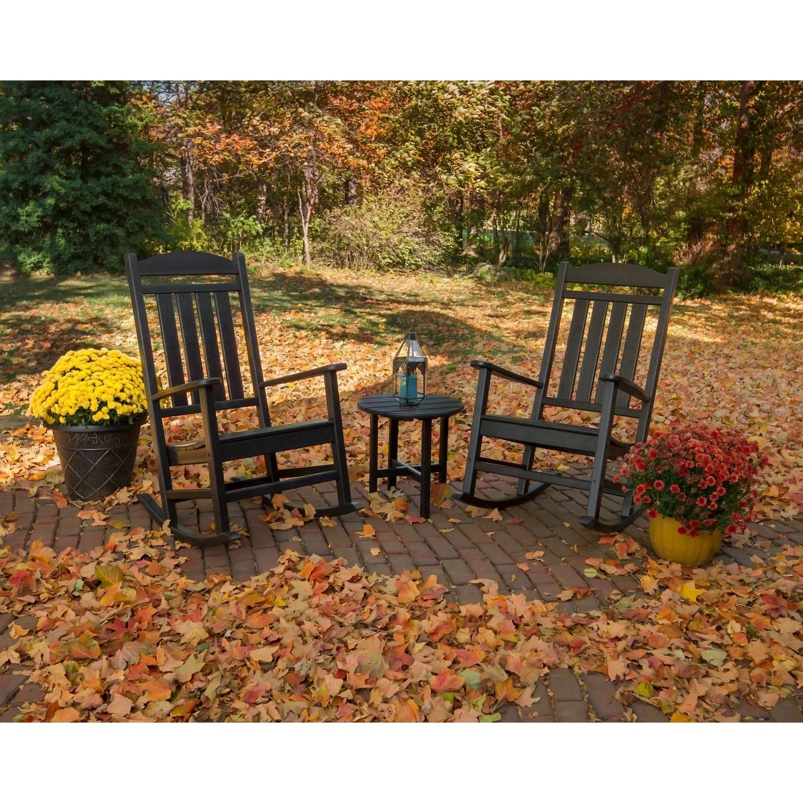 Round Table Patio Furniture Sets Polywood Presidential 3 Piece Outdoor Rocking Chair Set With Round Table