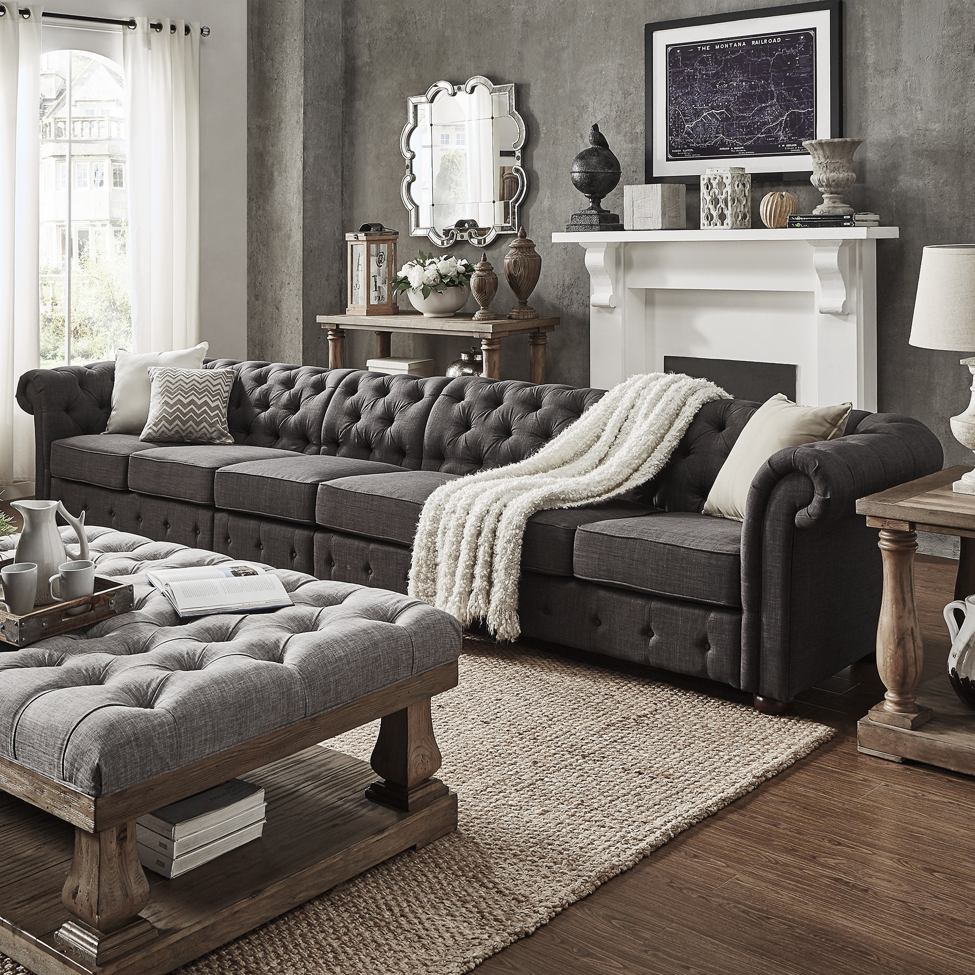 Chesterfield Lounge Knightsbridge Dark Grey Extra Long Tufted Chesterfield Sofa By Inspire Q Artisan