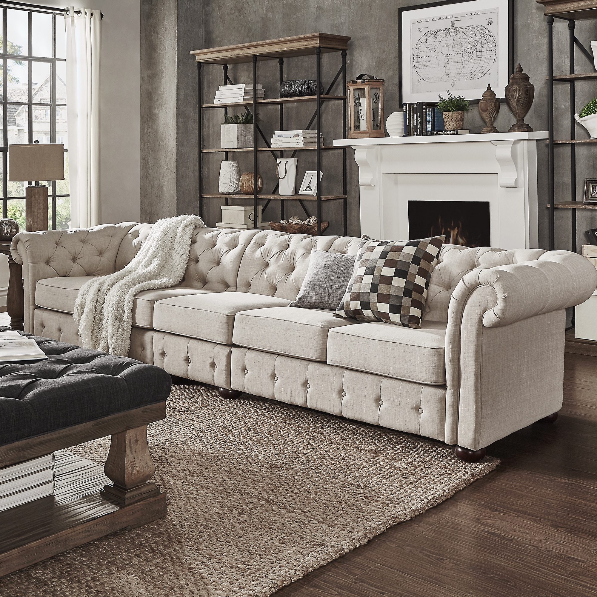 Cheap Modular Lounges Knightsbridge Beige Linen Oversize Extra Long Tufted Chesterfield Modular Sofa By Inspire Q Artisan