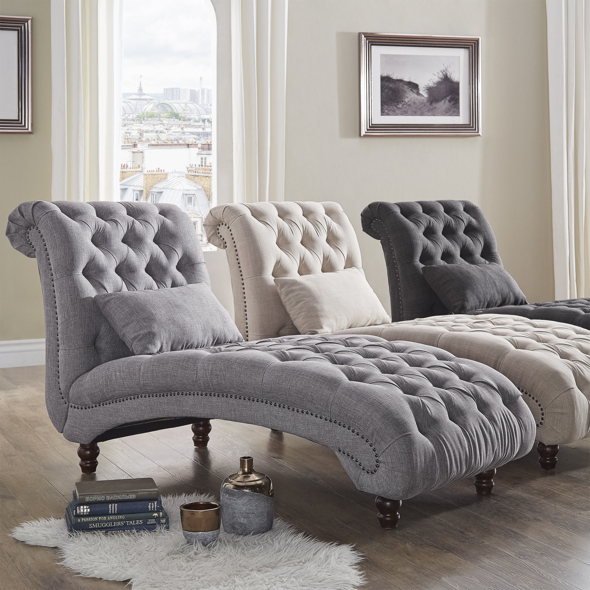 Furniture Chaise Knightsbridge Tufted Oversized Chaise Lounge By Inspire Q Artisan