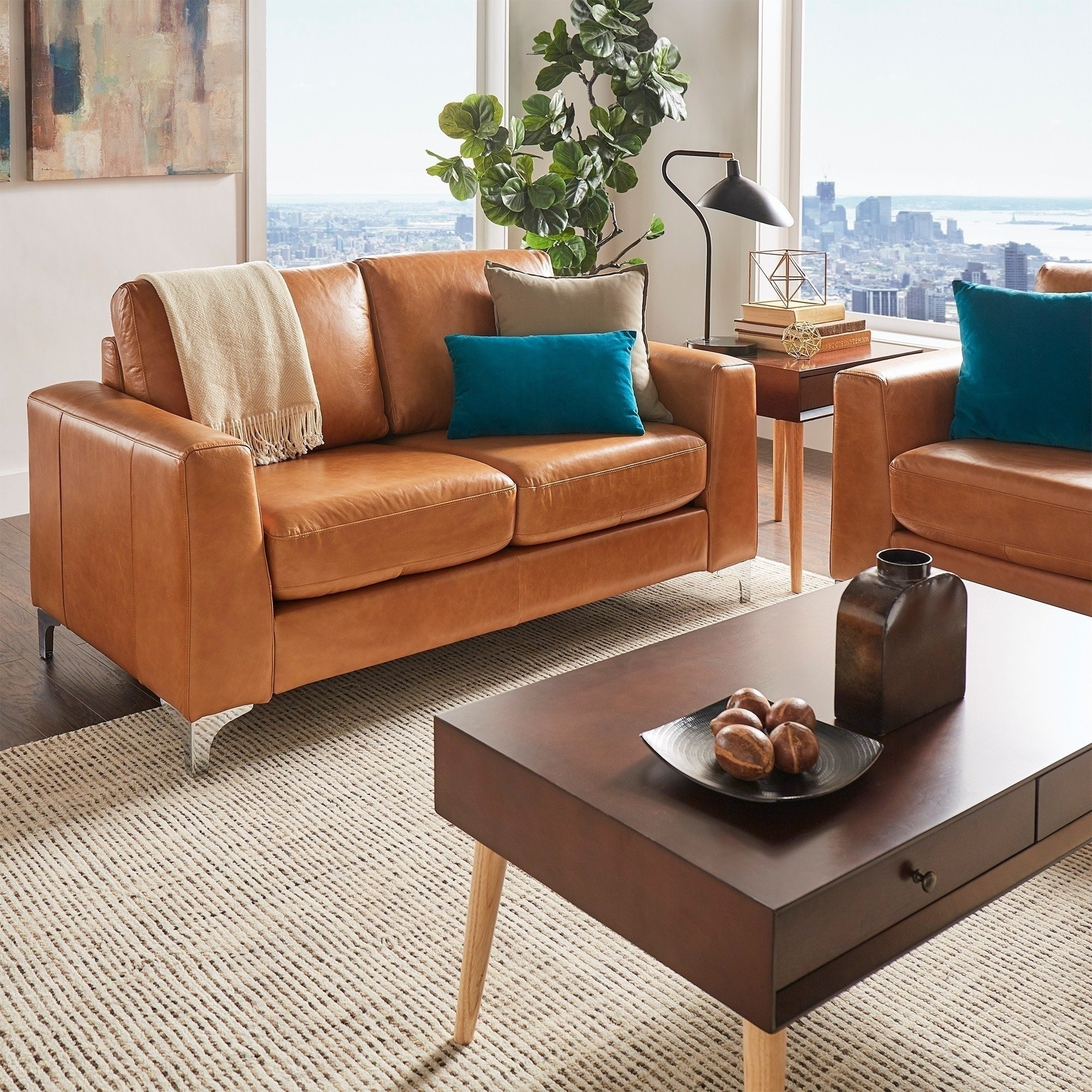 Sofa Modern Bastian Aniline Leather Sofa By Inspire Q Modern