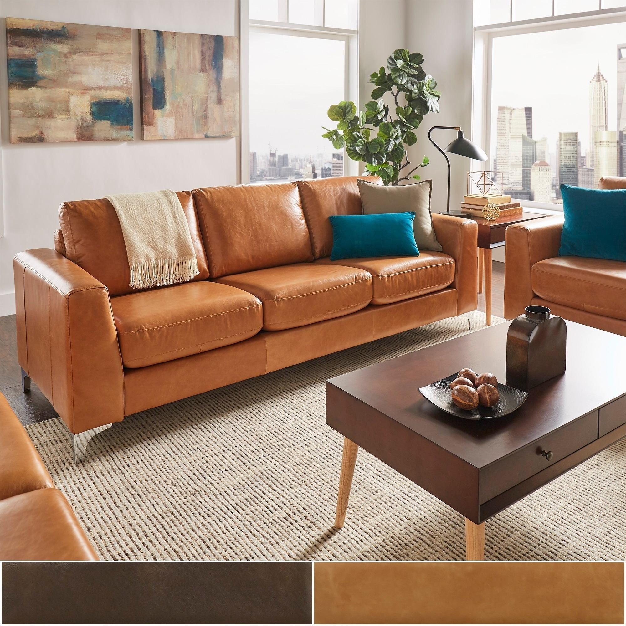 Brown Real Leather Couch Bastian Aniline Leather Sofa By Inspire Q Modern