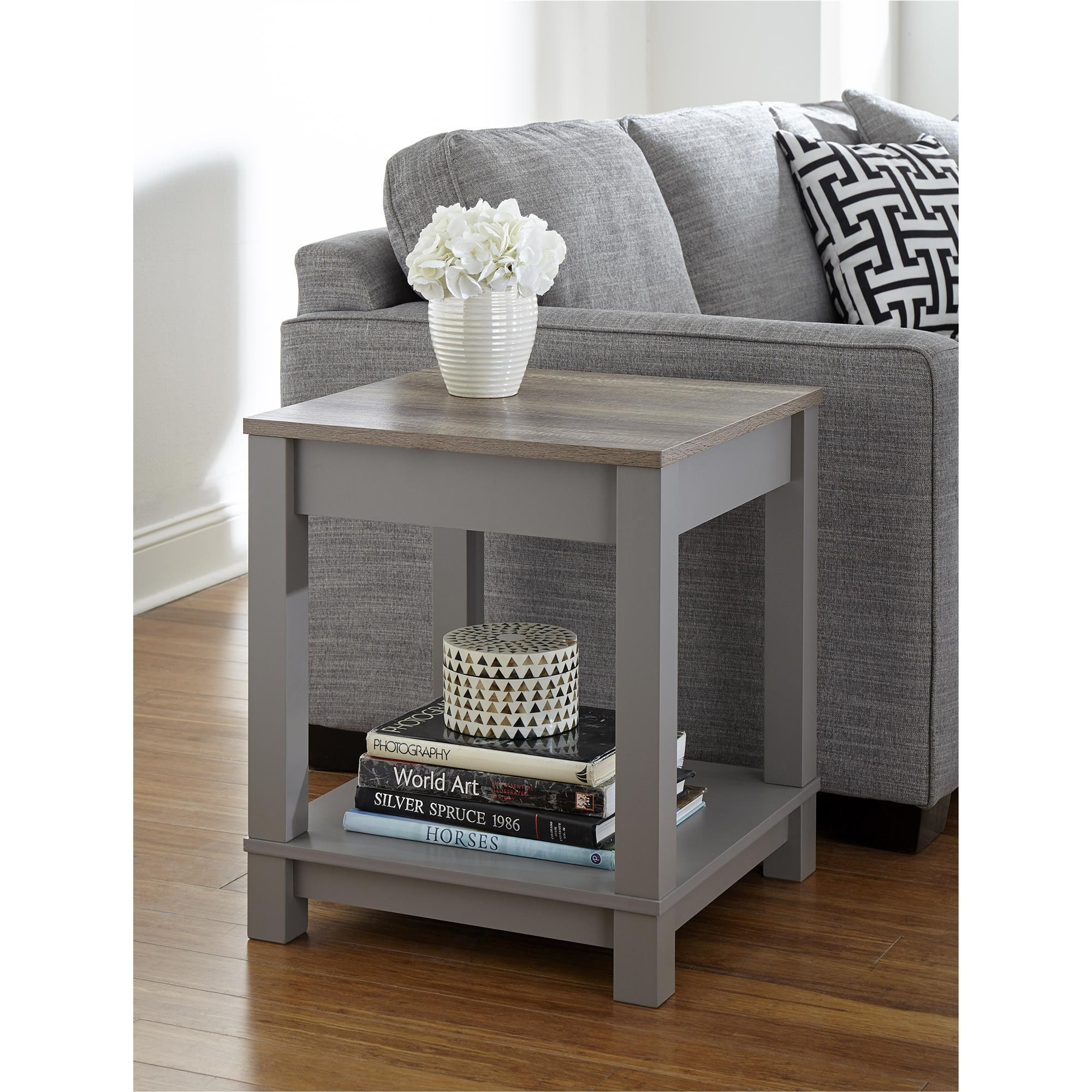 End Table For Living Room Ameriwood Home Carver Grey Sonoma Oak End Table