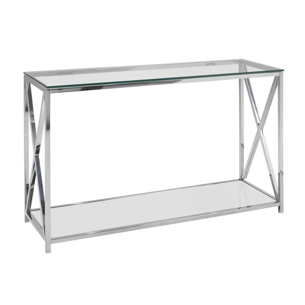 Glass Top Console Table Ellen Contemporary Glass Top Metal Rectangle Console Table