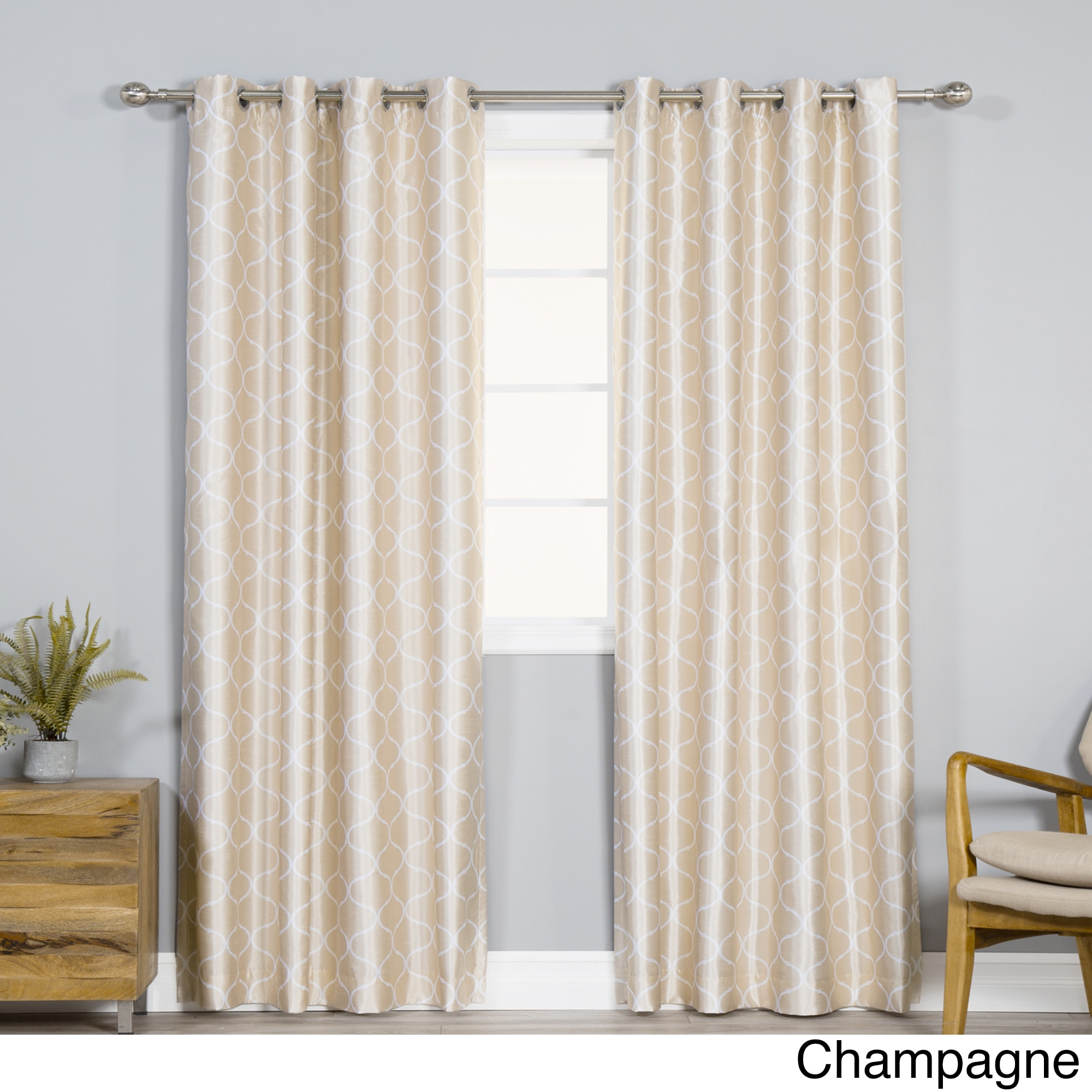 Faux Silk Curtains Aurora Home Faux Silk Quatrefoil Blackout Curtains 52 X 84