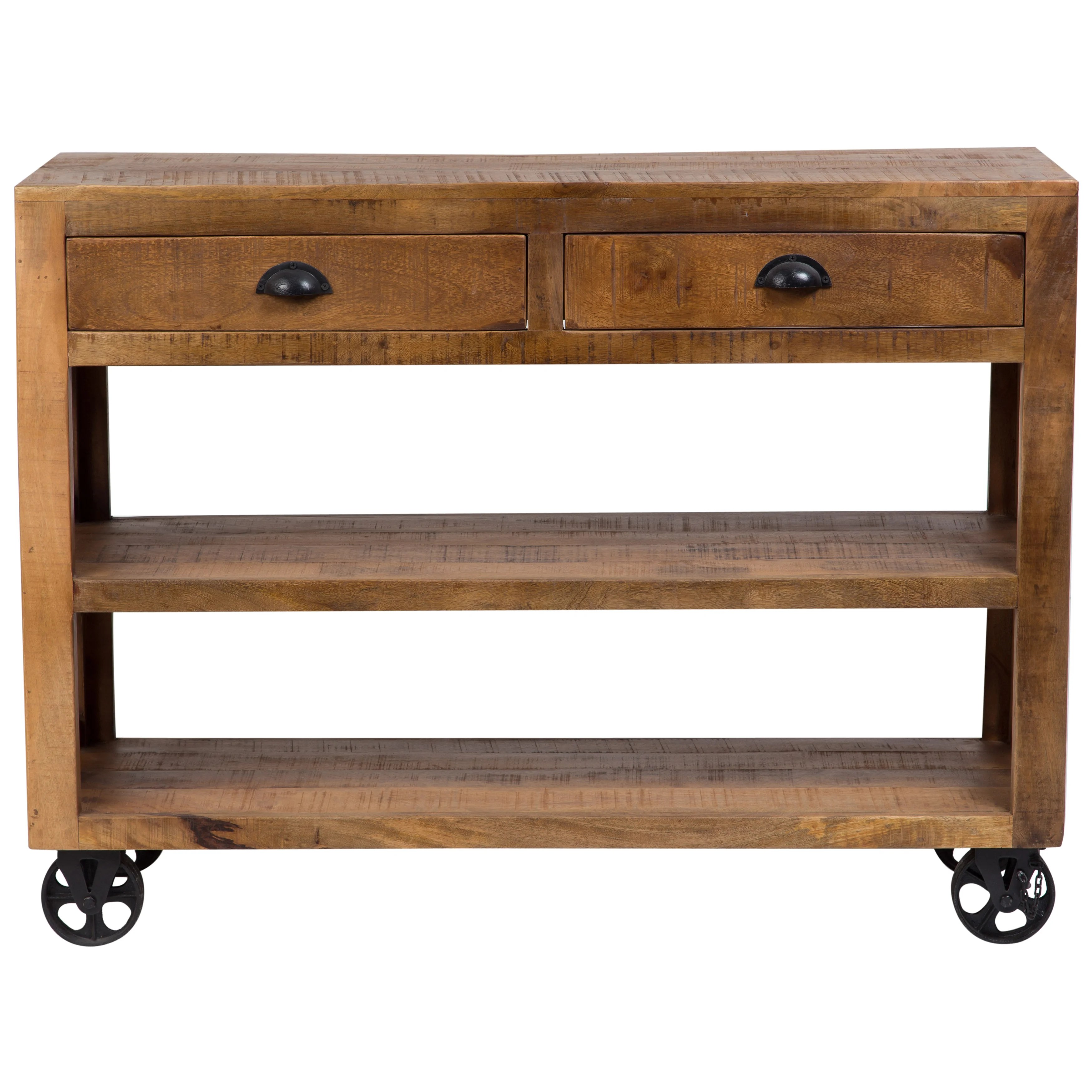 Barn Door Wheels Handmade Wanderloot Barn Door Wooden Trolley Console Table With 2 Shelves And 2 Drawers And Cast Iron Wheels India