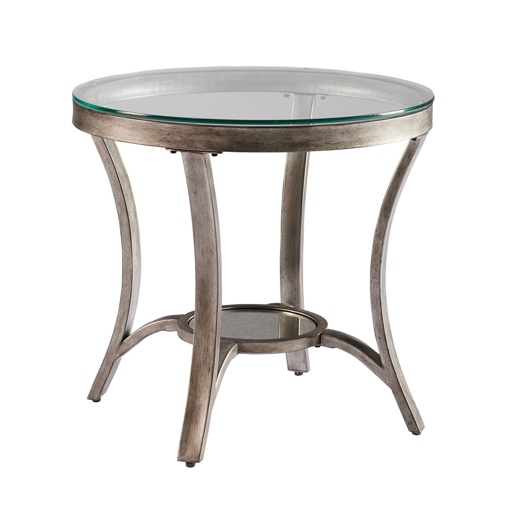 Metal Glass End Tables Cole Grey Metal Round End Table With Glass Top