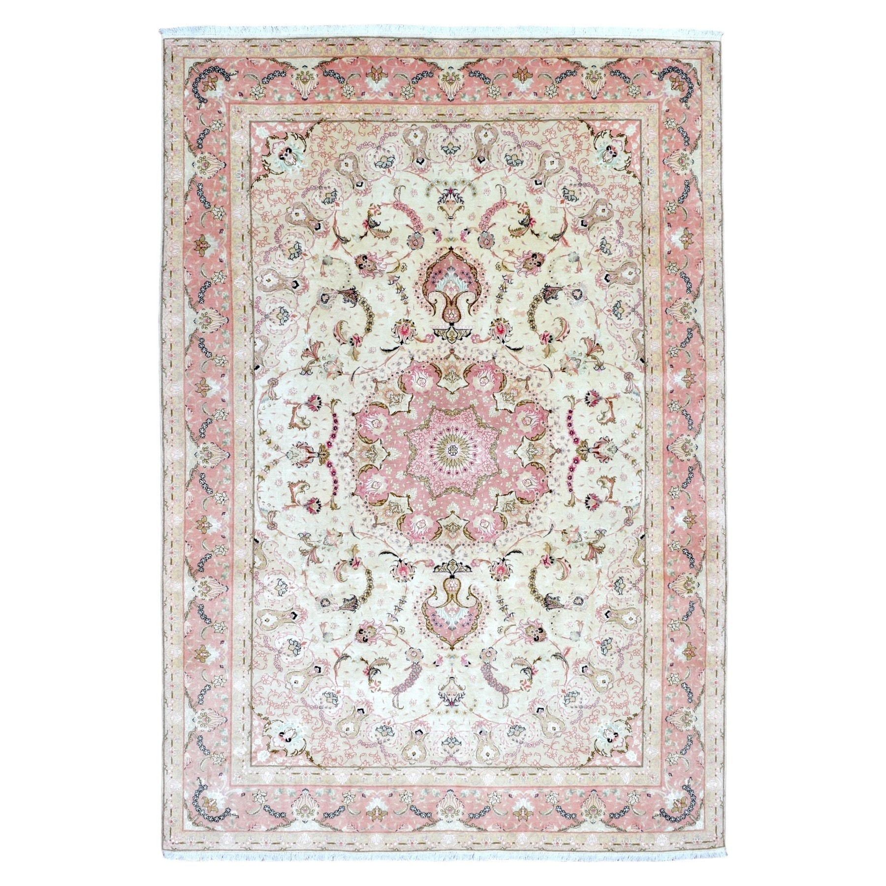 Decor Oriental Chic Finerugcollection Hand Knotted Extra Fine Persian Tabriz Pink Wool Oriental Rug With Silk Flowers