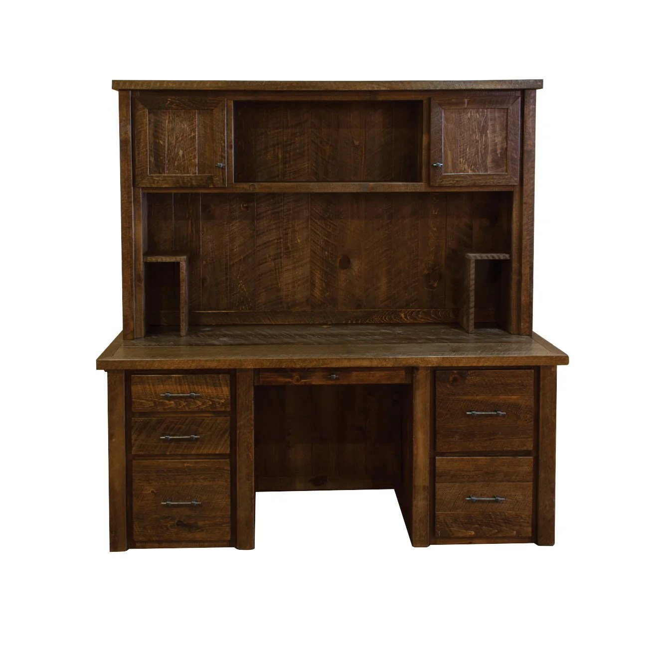 Timber Computer Desk Barn Wood Style Timber Peg Executive Desk With Hutch Amish Made