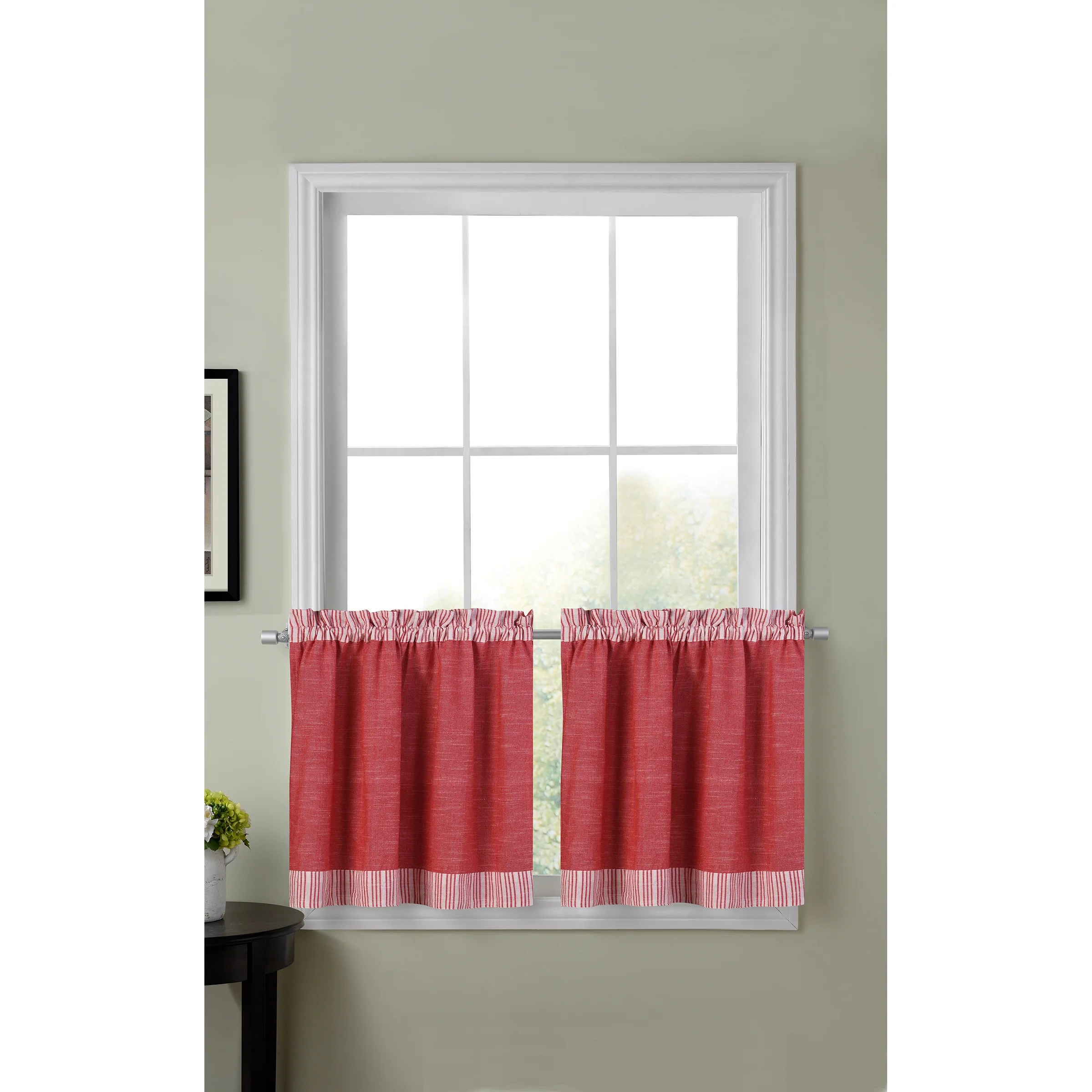 24 Inch Kitchen Curtains Amherst Color Block Kitchen Tier Curtains 30 Inch X 24 Inch