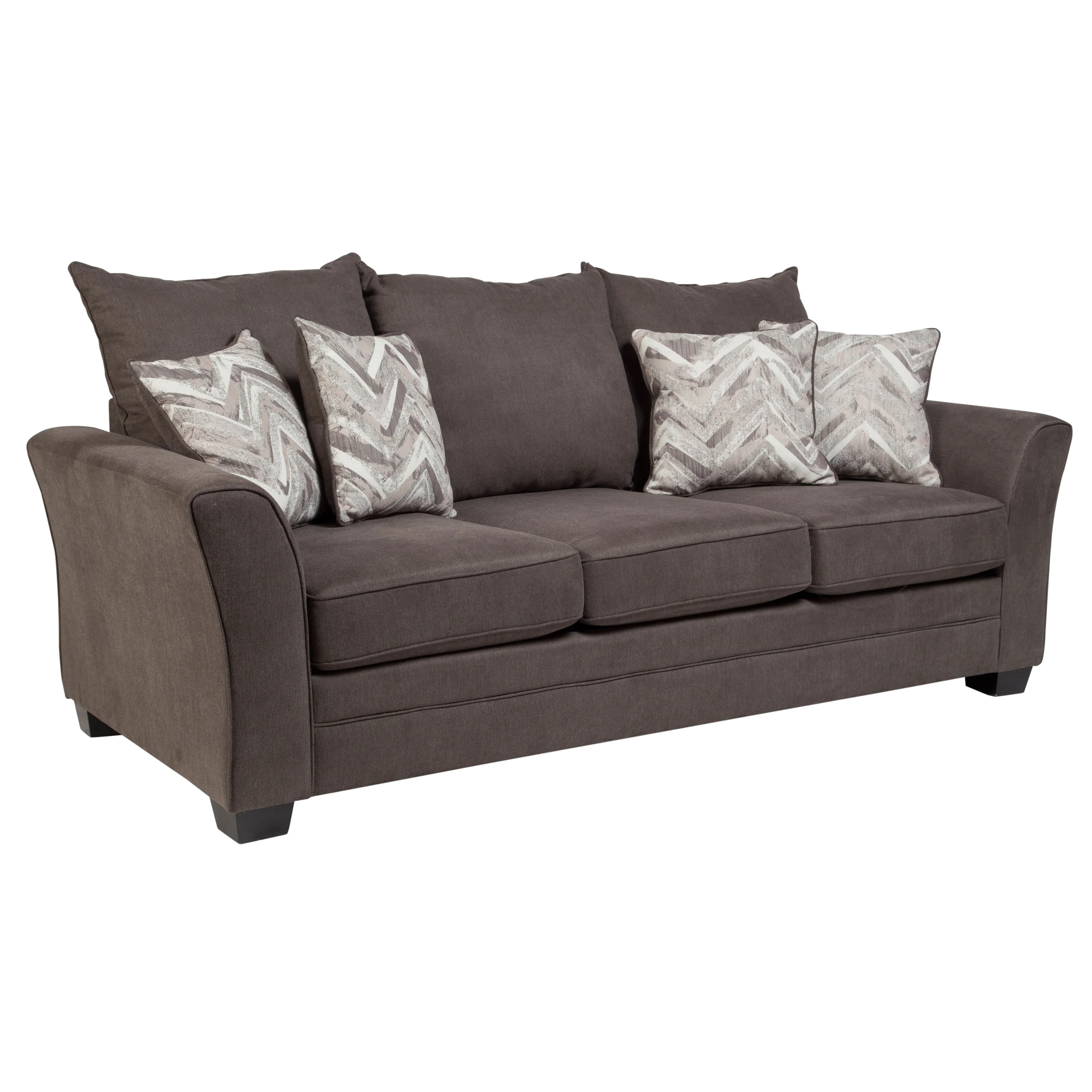 Two Sided Sofa Porter Dorian Grey Microfiber Contemporary Modern Sofa With 4 Two Sided Accent Pillows