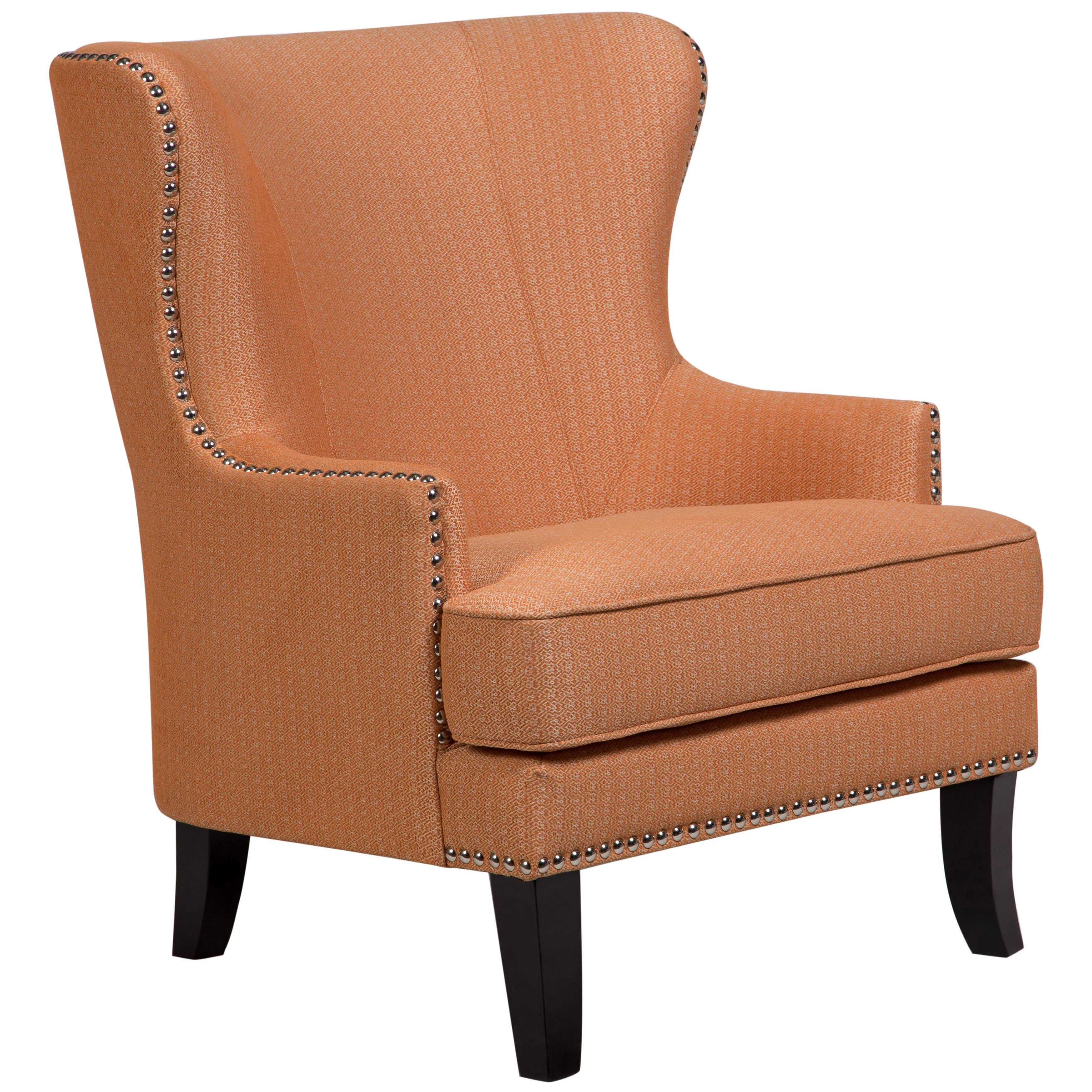 Beautiful Accent Chairs Porter Grant Orange Sunburst Wingback Accent Chair With Silver Nailhead 39