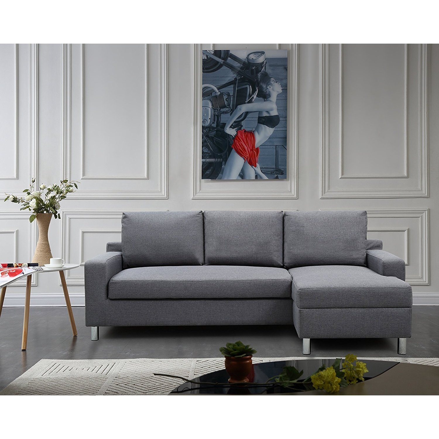 Sectional Pull Out Couch Us Pride Furniture Hampton Linen Fabric Sectional Sofa With Pull Out Bed