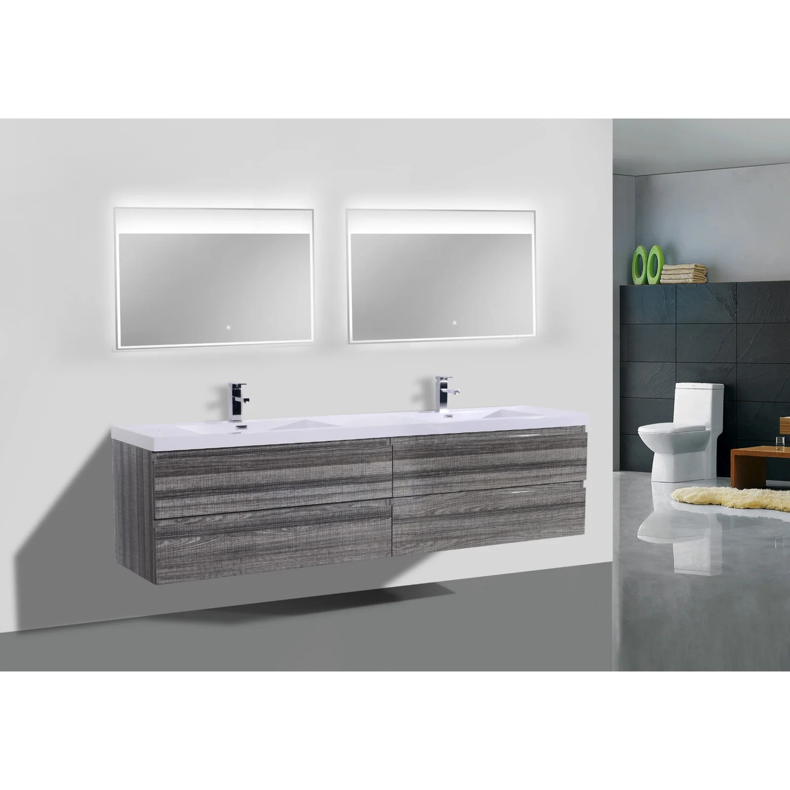 Wall Mount Double Vanity Moreno Bath Mob 72 Inch Wall Mounted Modern Bathroom Double Vanity With Reinforced Acrylic Sinks