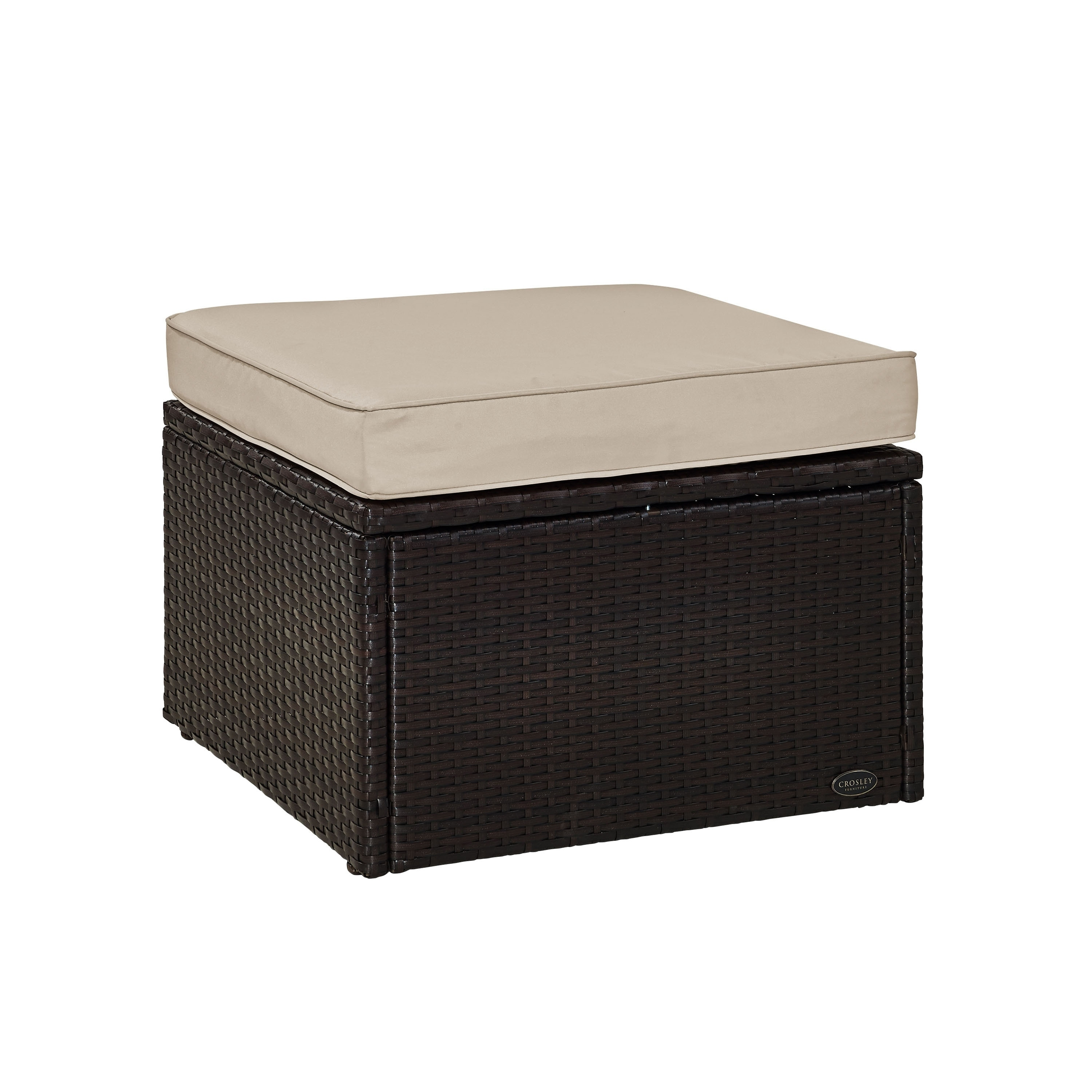 Wicker Ottoman Palm Harbor Outdoor Wicker Ottoman In Brown With Sand Cushions