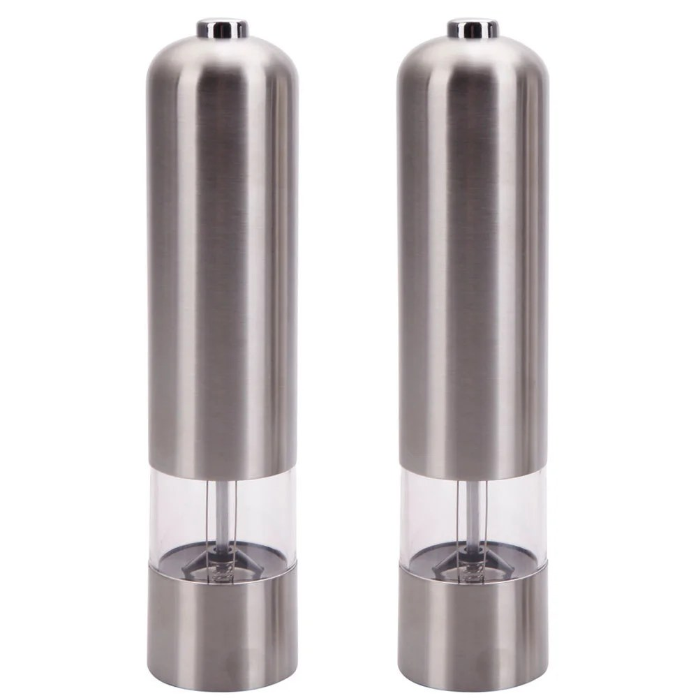 Fancy Pepper Grinder Silvertone Stainless Steel Electric Automatic Pepper Mill And Salt Grinder