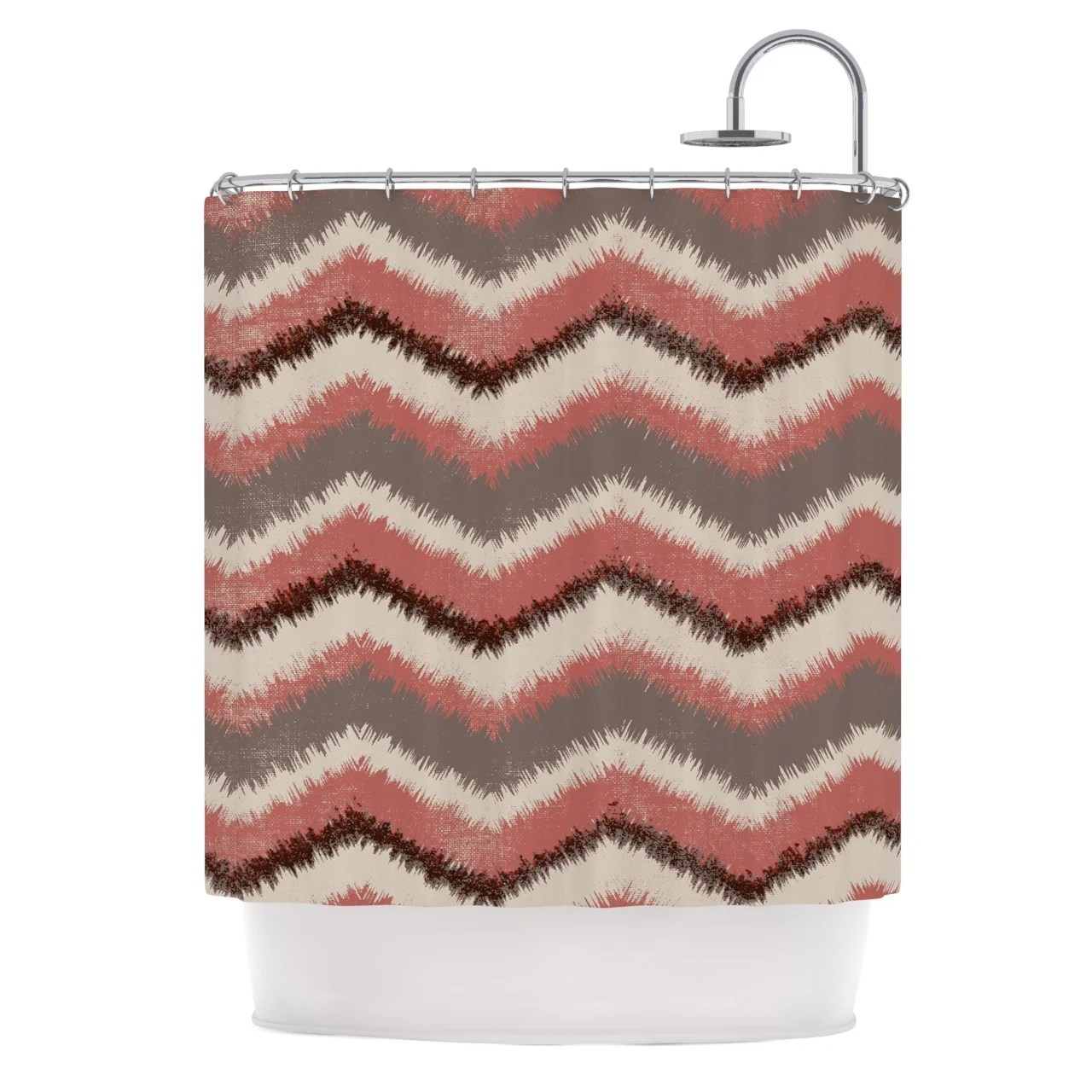 Red And Brown Shower Curtain Kess Inhouse Heidi Jennings