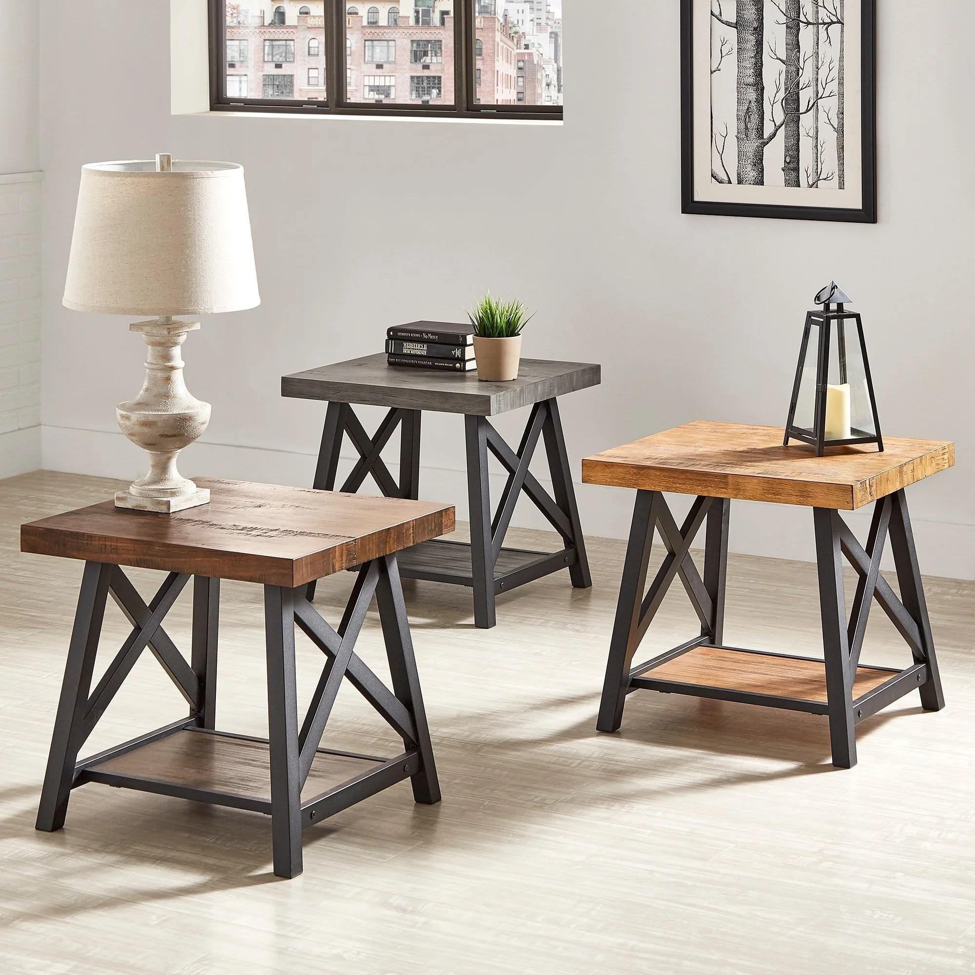 Rustic Wood End Table Bryson Rustic X Base End Table With Shelf By Inspire Q Classic