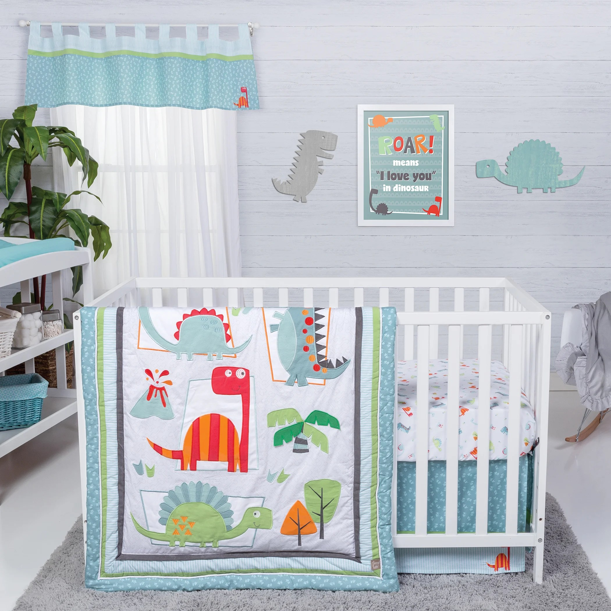 Full Crib Bedding Sets Trend Lab Dinosaur Roar 3 Piece Crib Bedding Set