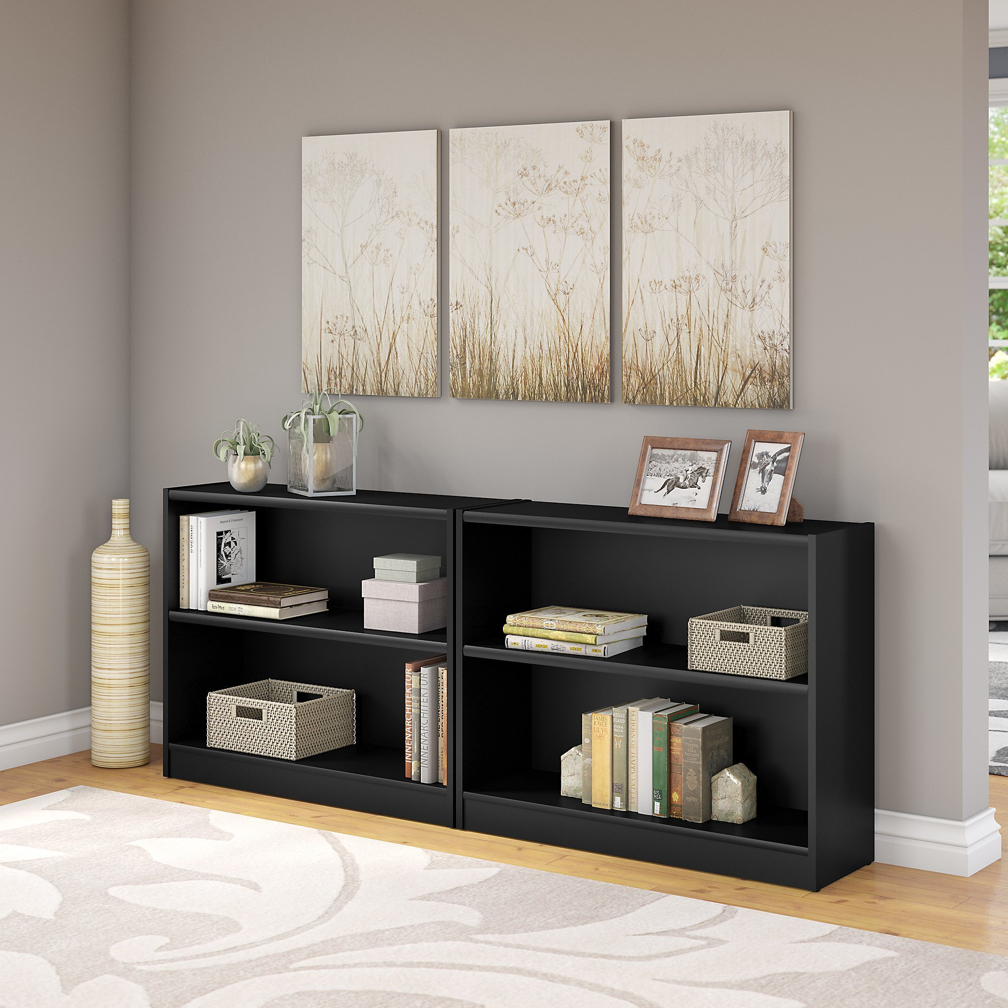 Innenarchitektur College Universal 2 Shelf Bookcase Set Of 2 In Classic Black
