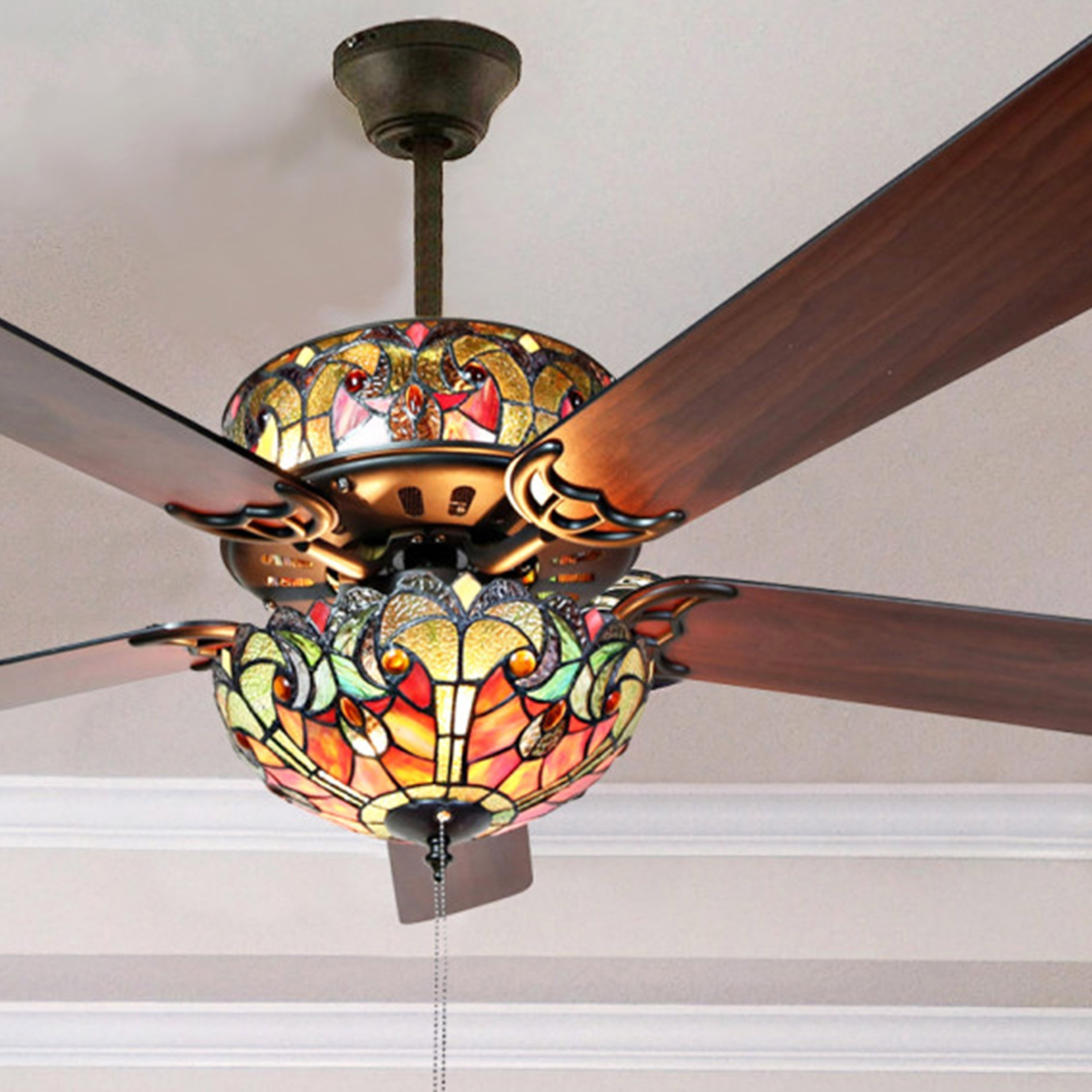 Ceiling Fans With Good Lighting Tiffany Style Stained Glass Halston Ceiling Fan Spice 52