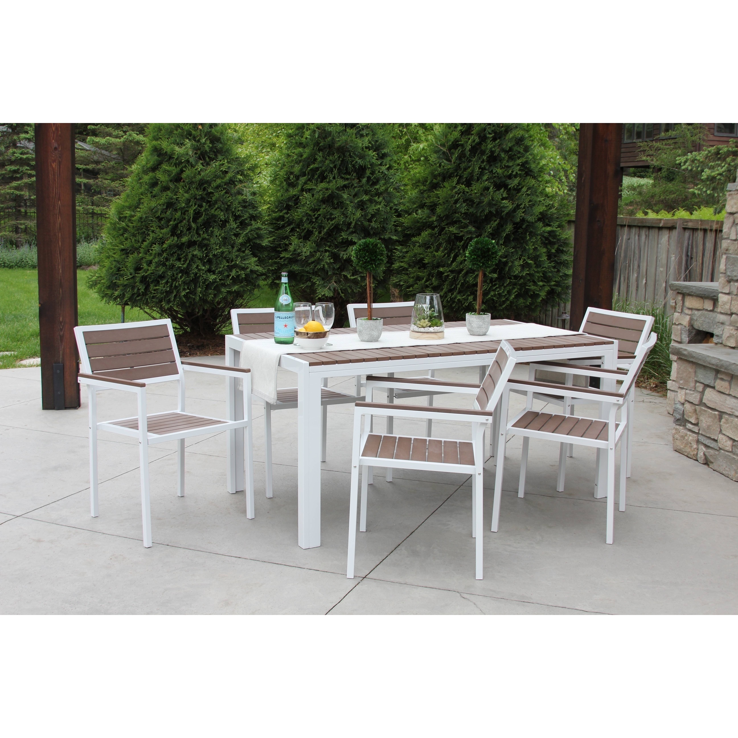 Outdoor Patio Furniture Dining Table Discontinued 7 Piece All Weather Outdoor Patio Furniture Garden Deck Dining Set White Bay Brown W Premium Outdoor Storage Cover