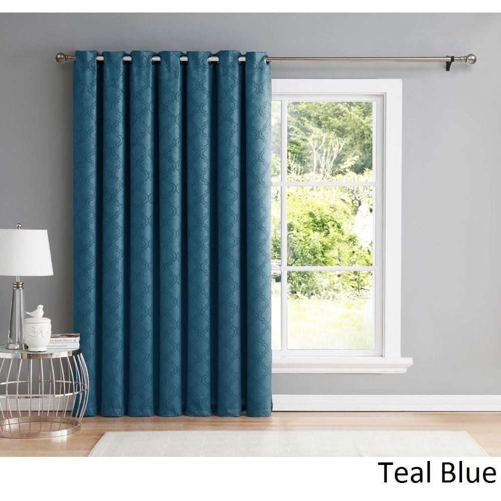 Thermal Patio Door Curtains With Grommets Hlc Me Redmont Lattice Thermal Blackout Grommet Patio Door Curtain Panel