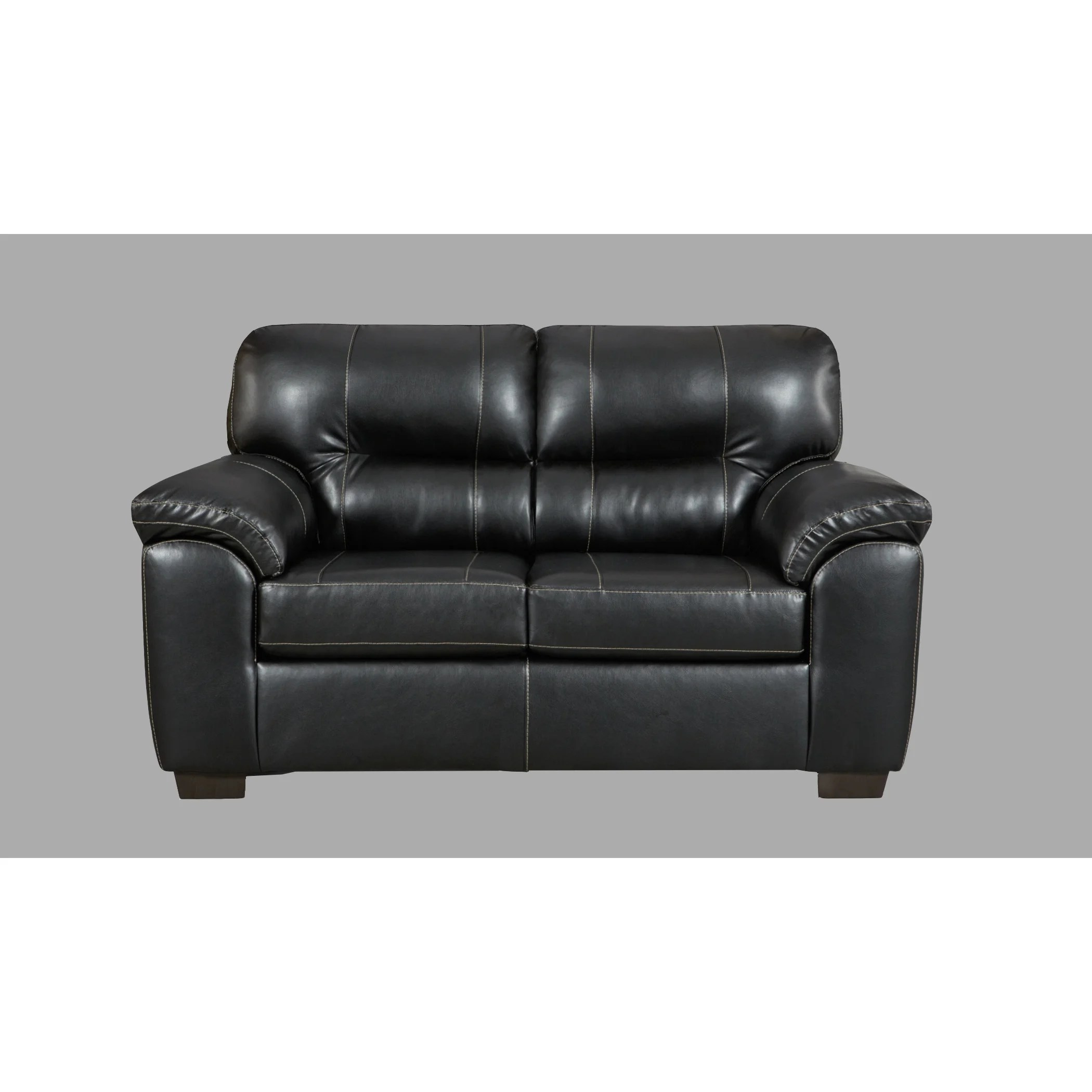 Sofa Foam Leeds Leeds Pu Leather Living Room Set With Sofa And Loveseat Set In Austin Black