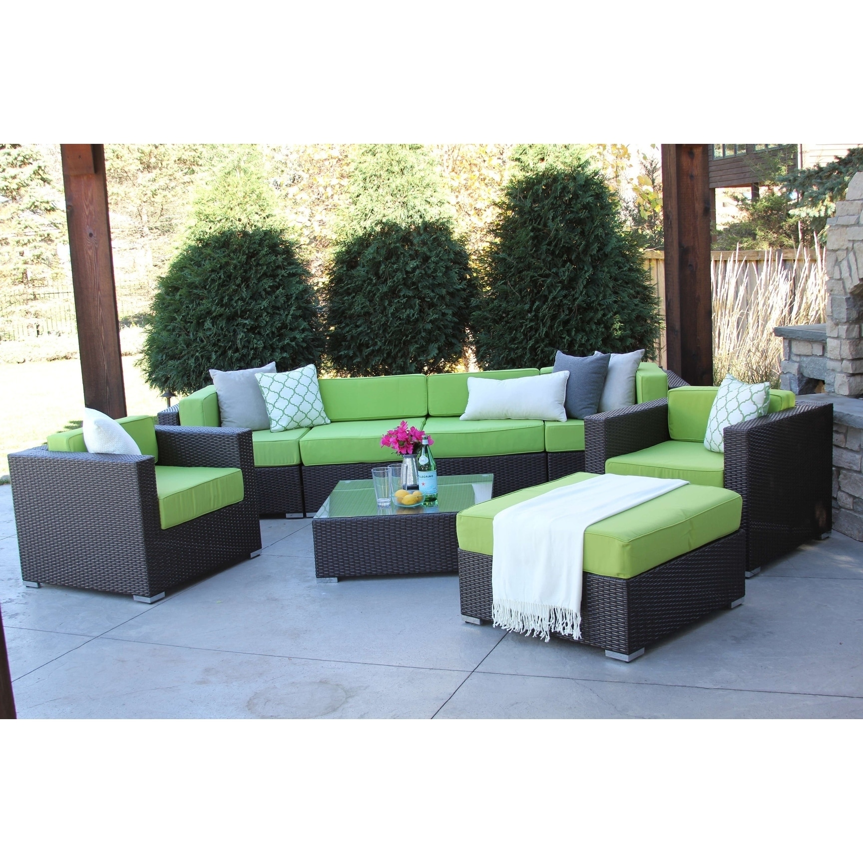Owen 5 Piece Rattan Sofa Set With Cushions Hiawatha 8 Pc Modern Outdoor Rattan Patio Furniture Sofa Set Modular