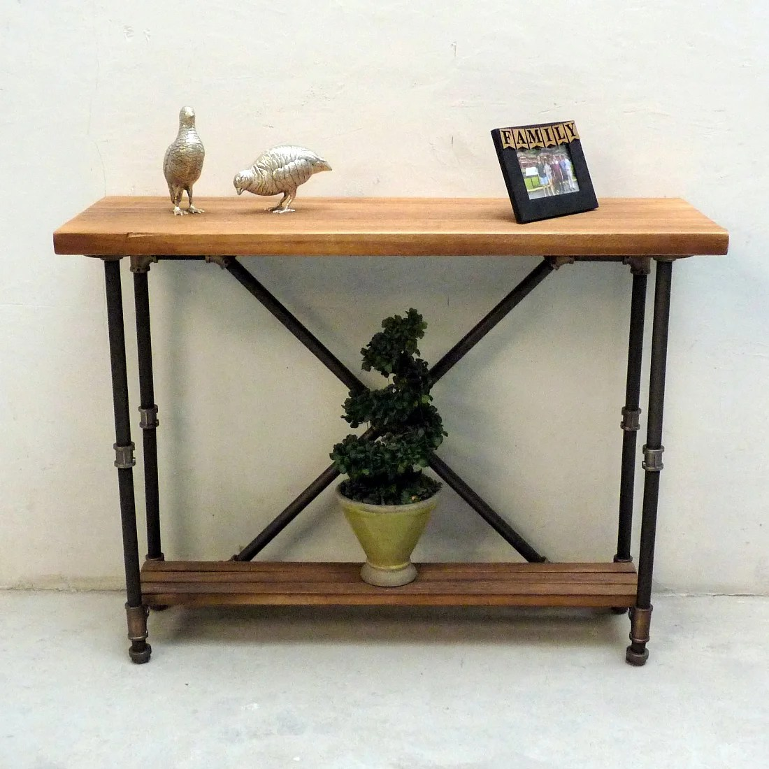 Vintage Hall Table Houston Industrial Vintage Metal And Reclaimed Aged Wood Finish 2 Tier Pipe Hall Table