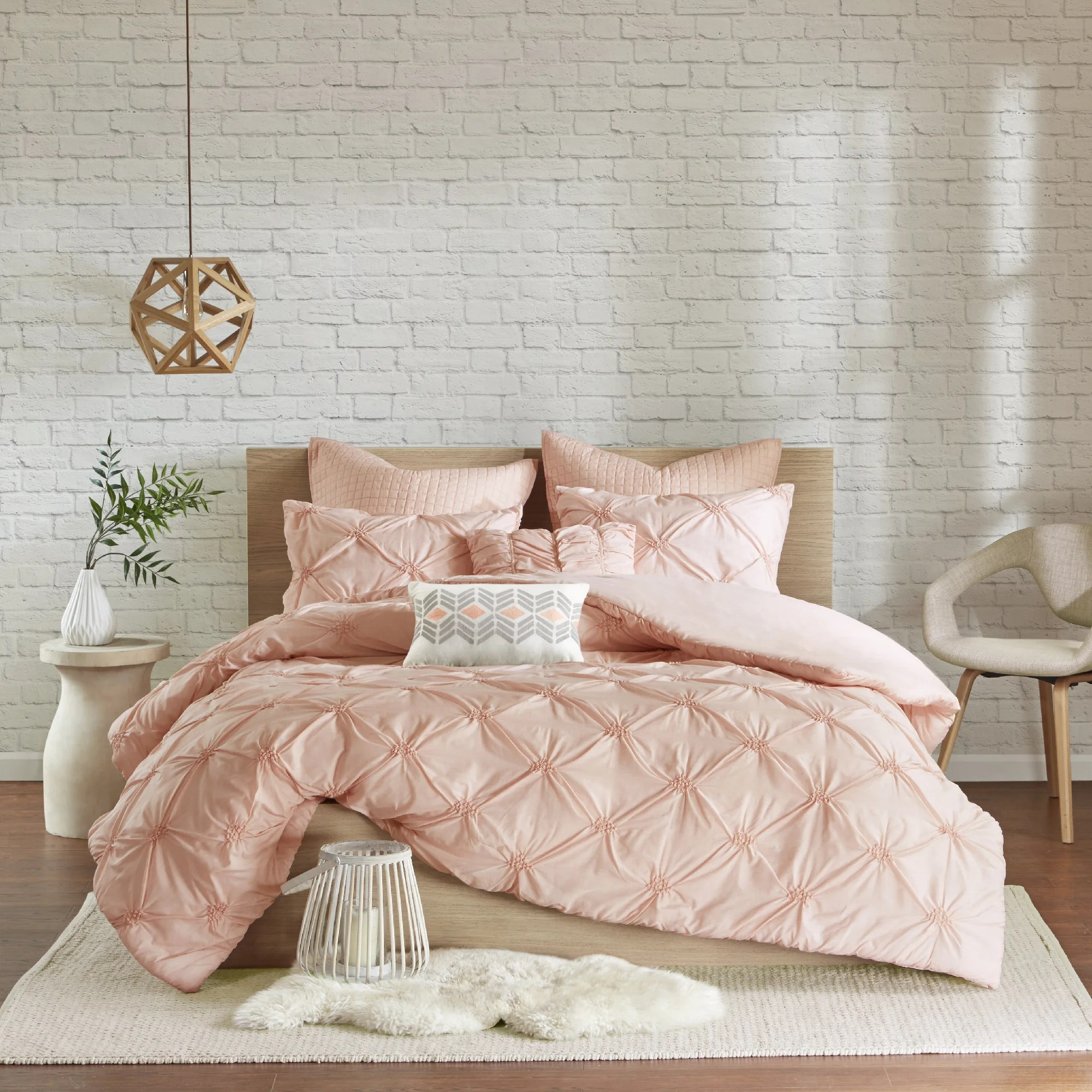 Pink Duvet Cover Urban Habitat Callie Pink Embroidered 7 Piece Duvet Cover Set With Pintuck Detailing