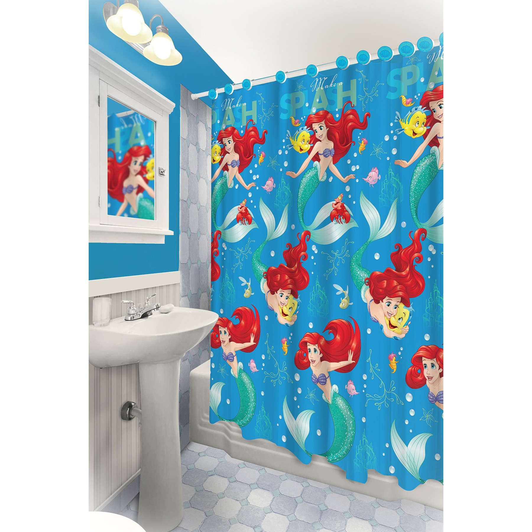 Ariel Shower Curtain The Little Mermaid Themed Printed Shower Curtain With Hooks