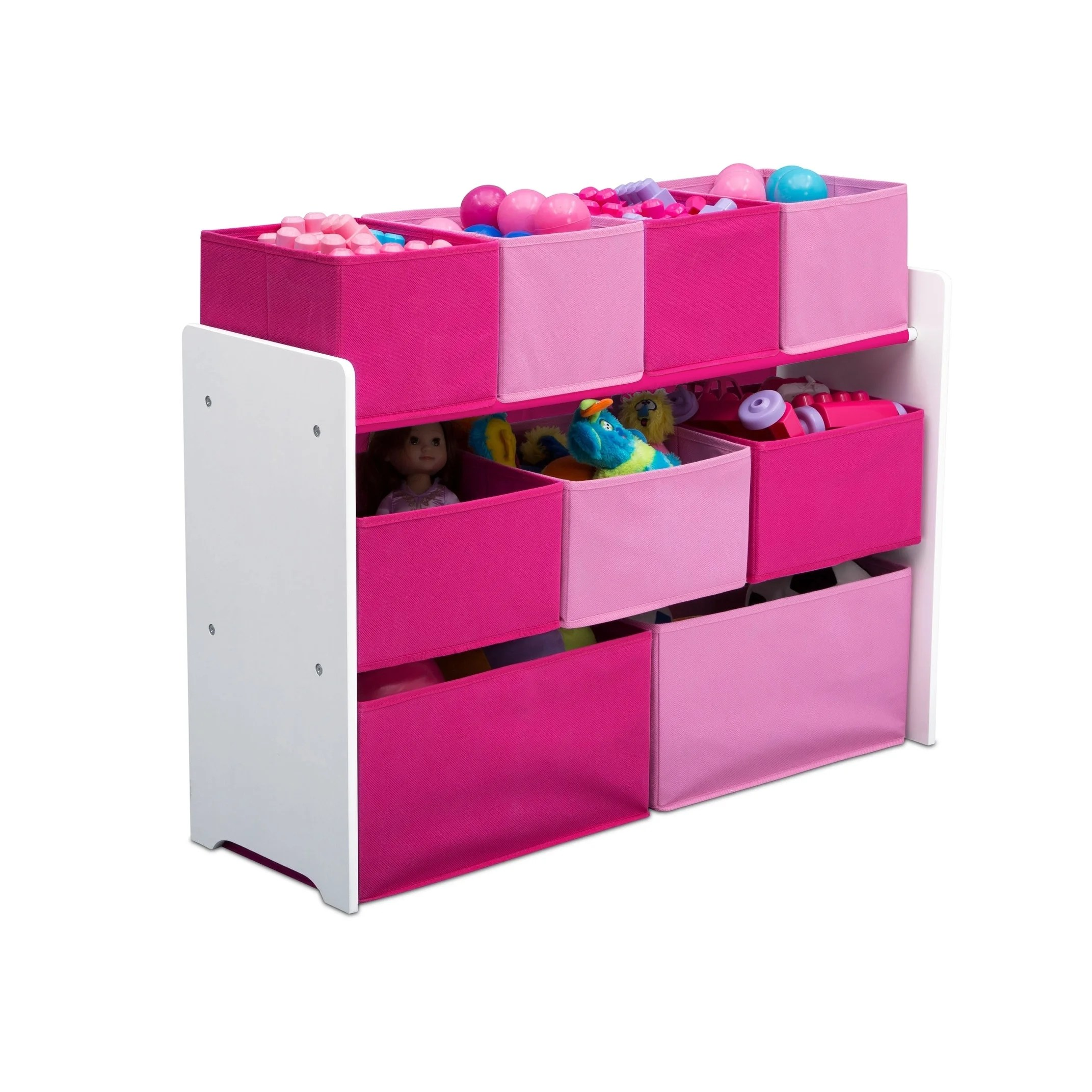 Pink Bins Delta Children Deluxe Multi Bin Toy Organizer With Storage Bins White Pink Bins