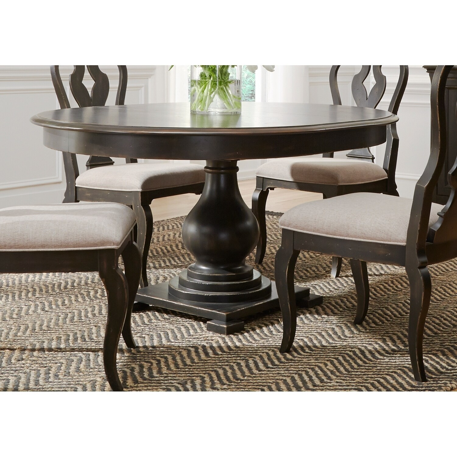 Classic Table Shapes Chesapeake Wire Brushed Antique Black 48x60 Pedestal Dinette Table