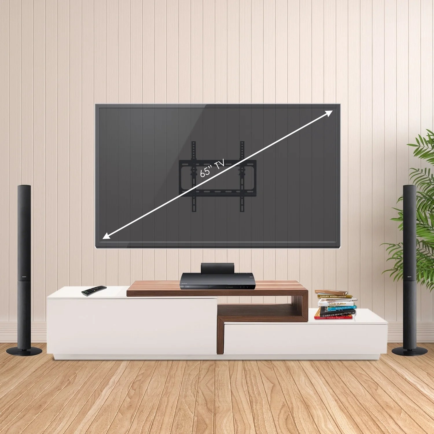 Wood Wall Behind Tv Furinno Modern Wall Mount Tv Bracket For Tv Up To 65 Inch