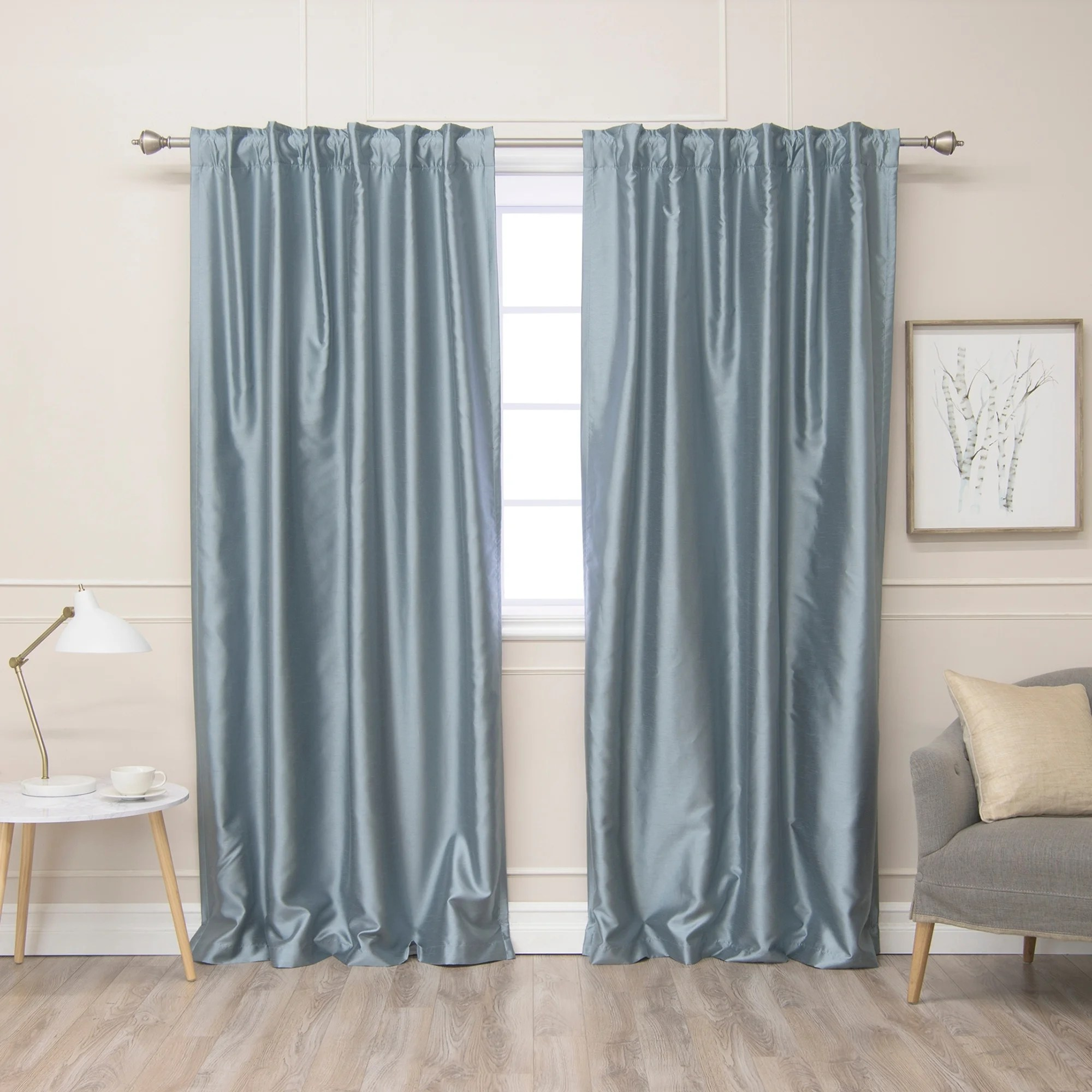 Faux Silk Curtains Aurora Home Faux Silk Blackout Lined Curtain Panel Pair 52
