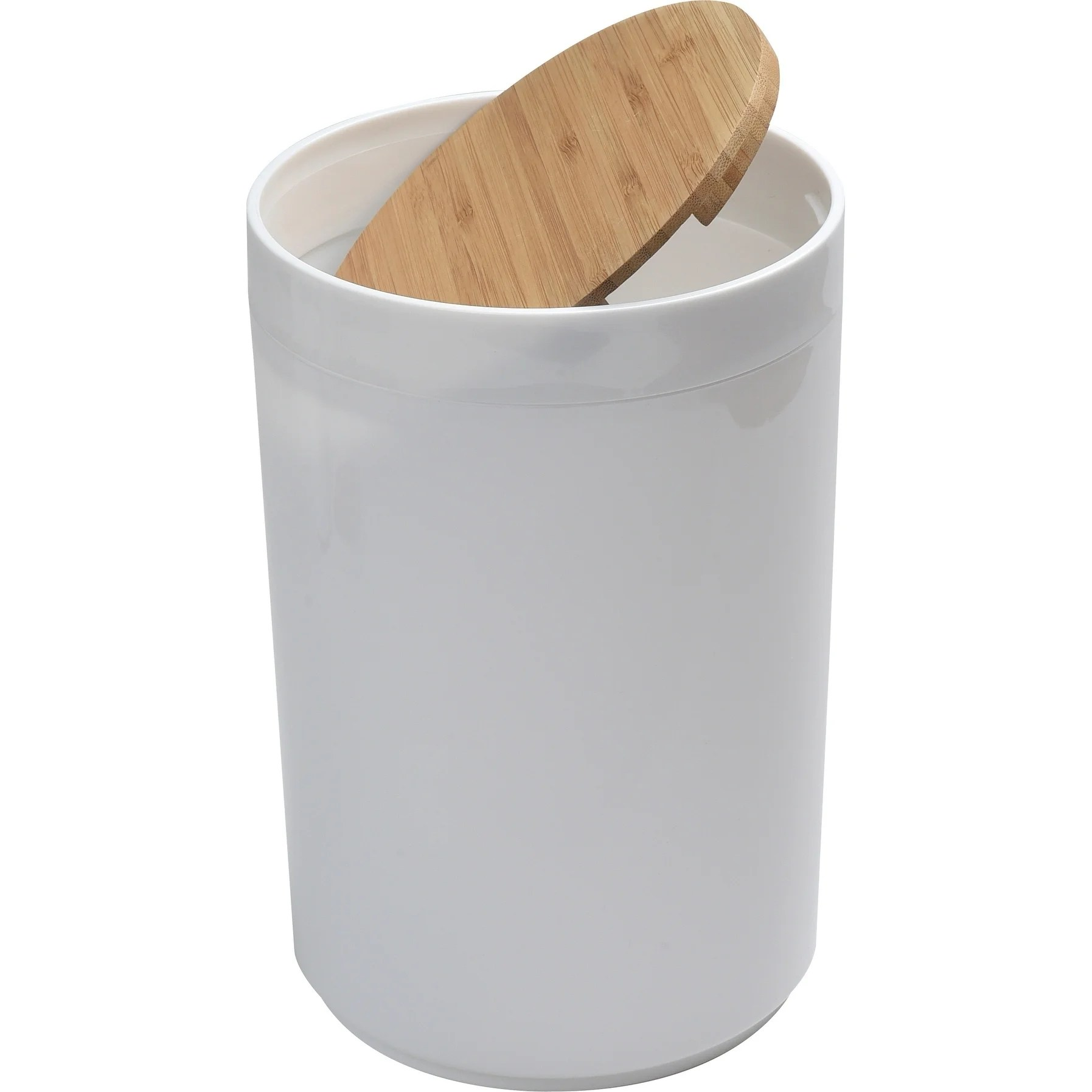 Small White Trash Can With Lid Evideco White Trashcan Padang Waste Bin Bamboo Top Swing
