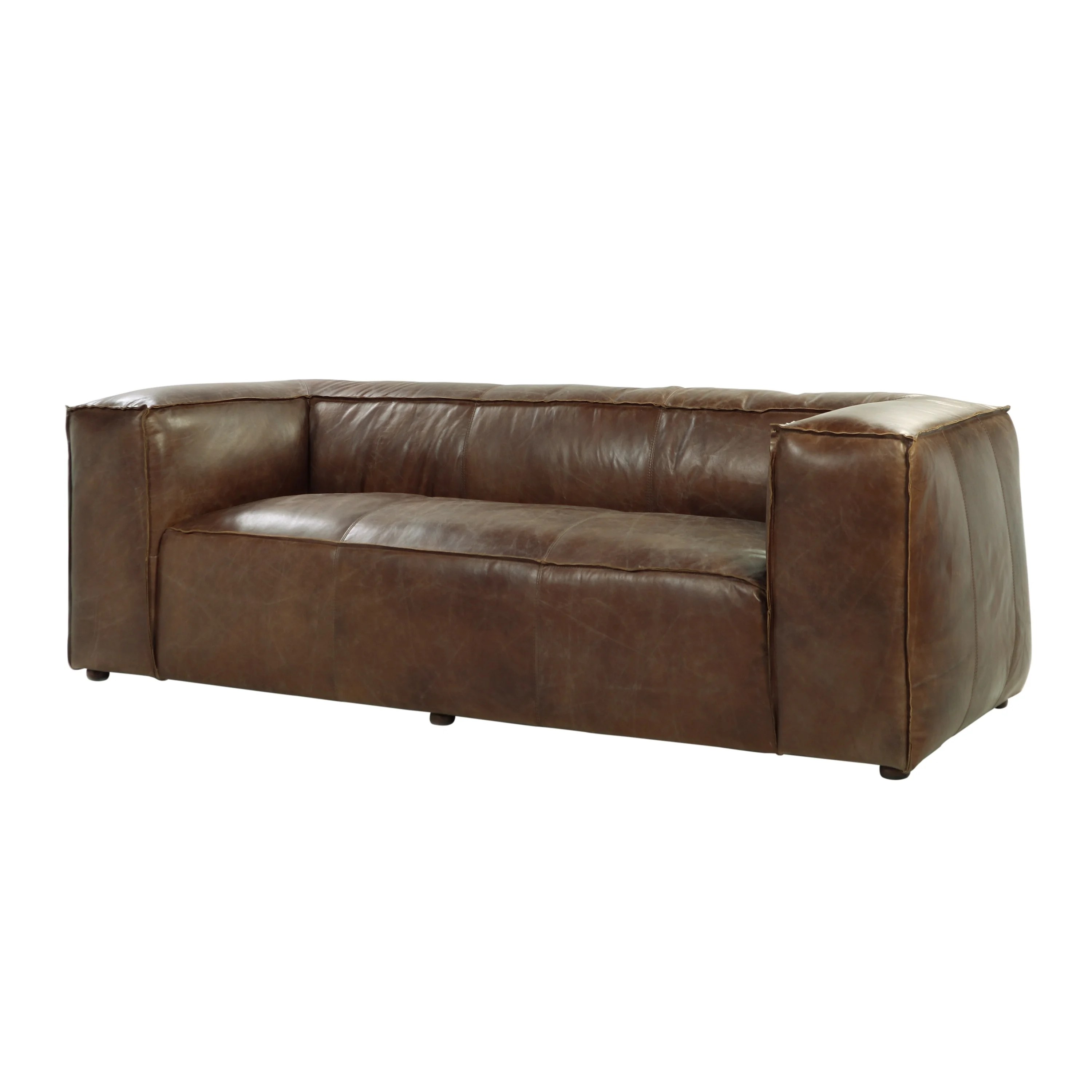 Brown Real Leather Couch Acme Furniture Brancaster Top Grain Leather Sofa Retro Brown