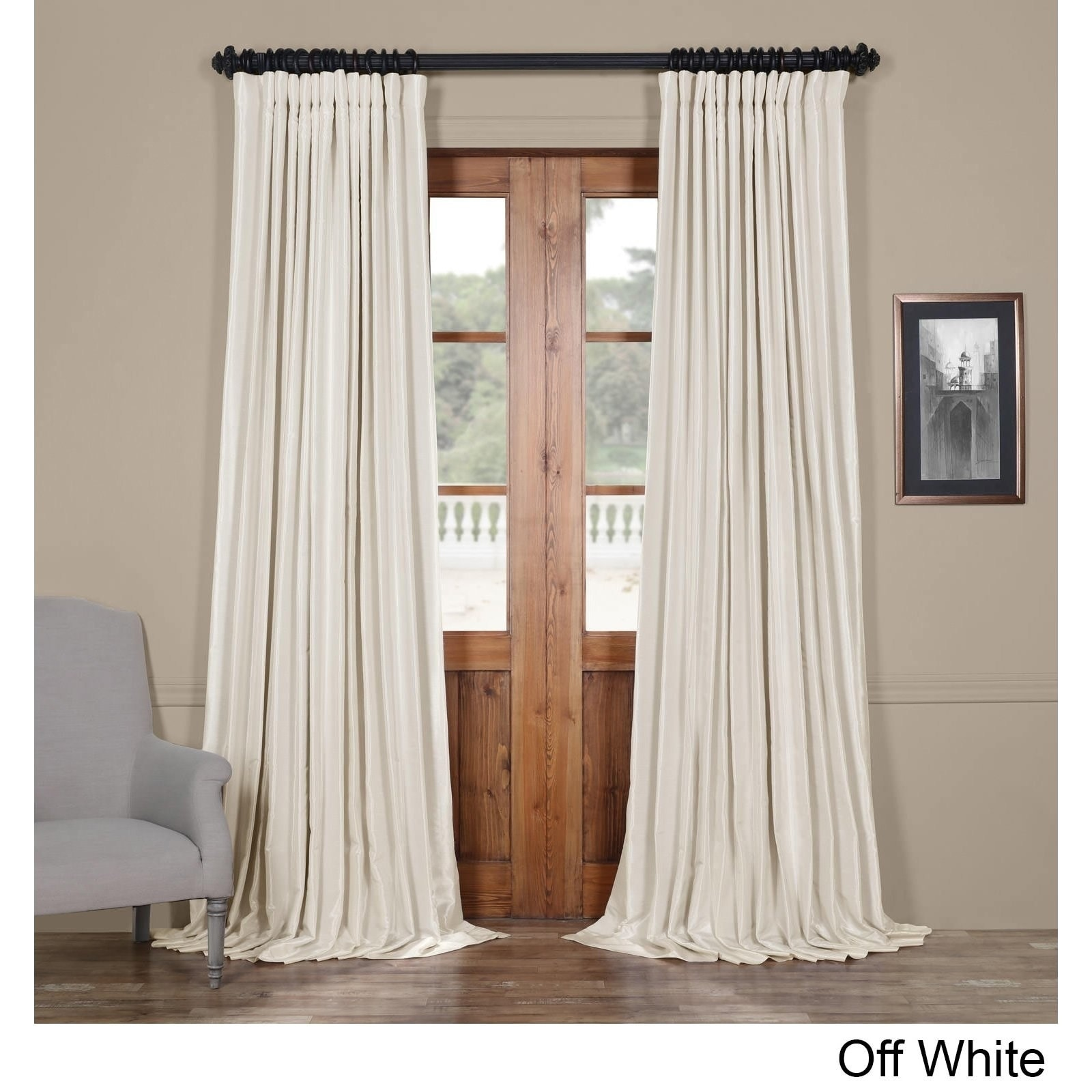Faux Silk Curtains Exclusive Fabrics Faux Silk Extra Wide Blackout Single Curtain Panel