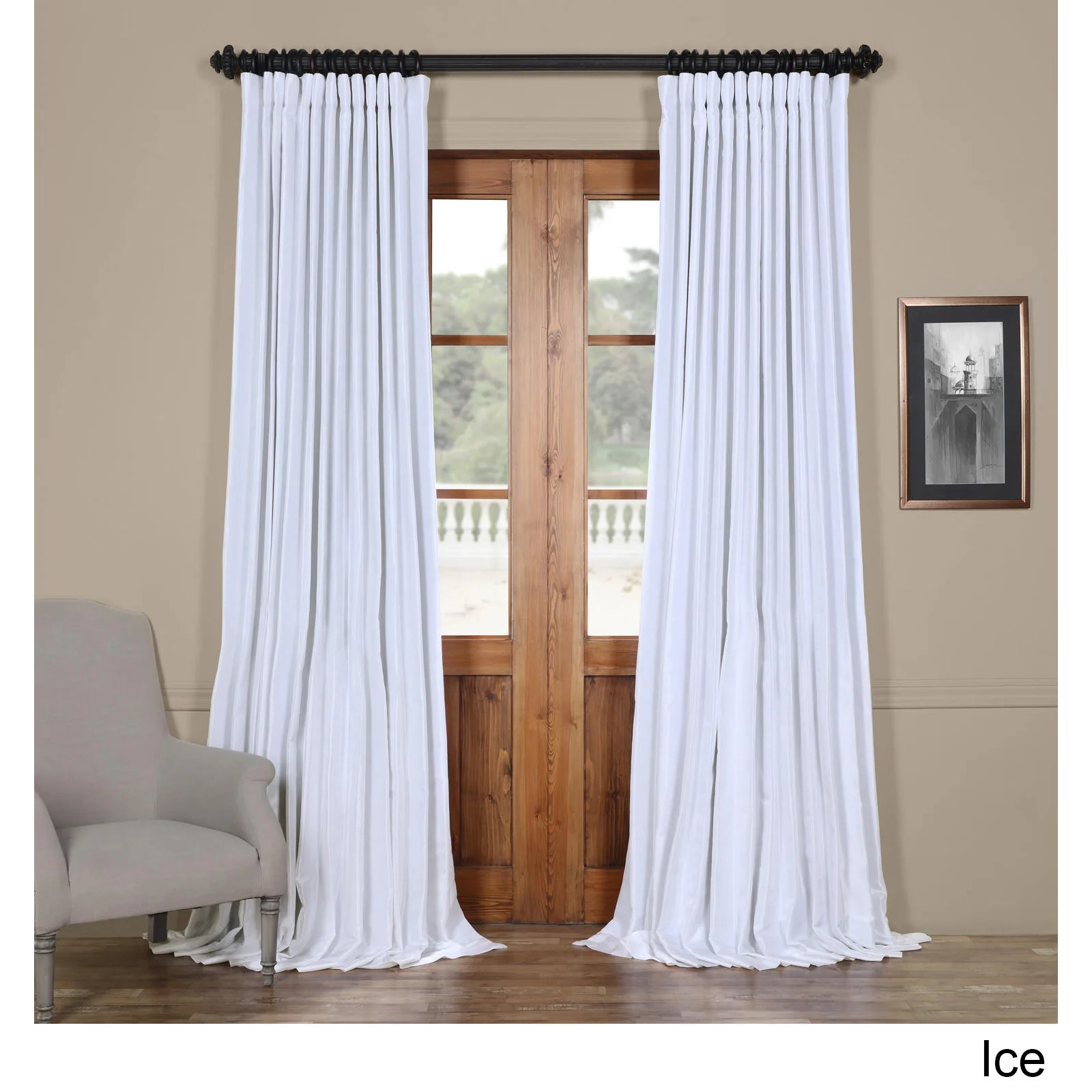 Double Wide Curtain Panels Exclusive Fabrics Faux Silk Extra Wide Blackout Single Curtain Panel