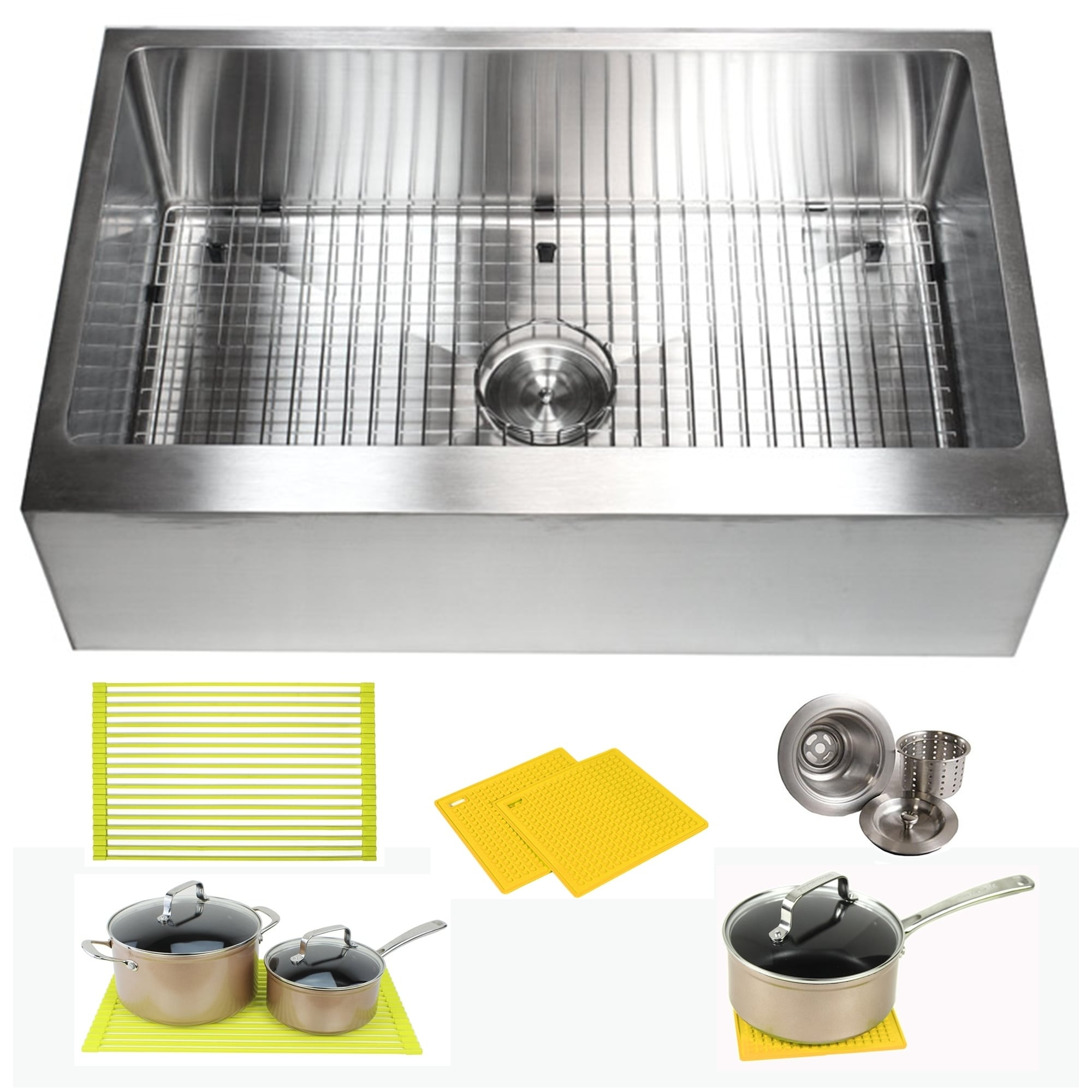 Flat Pack Outdoor Kitchen Ariel 33 Inch Farmhouse Apron Stainless Steel Kitchen Sink 16 Gauge Flat Front Single Bowl Sink Pack Bonus Kitchen Accessories