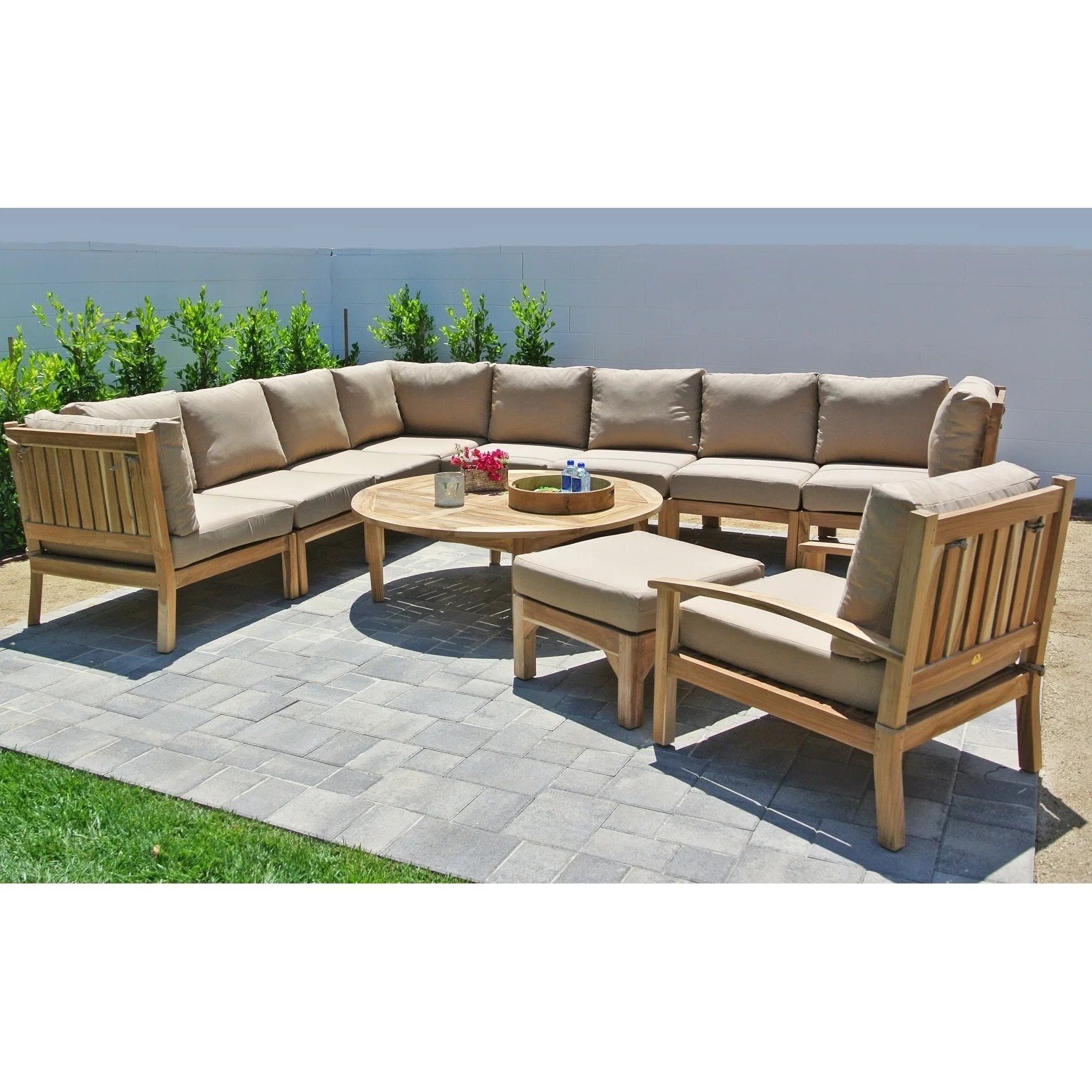 Hunington Furniture 11pc Huntington Teak Outdoor Patio Furniture Sectional Seating Group With 52