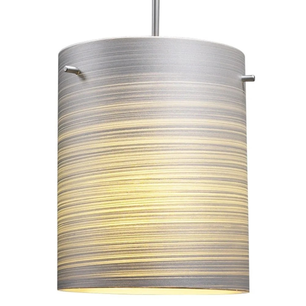 Glas Regalboden Bruck Lighting Regal Led Matte Chrome Pendant With Silver Textured Glass Shade