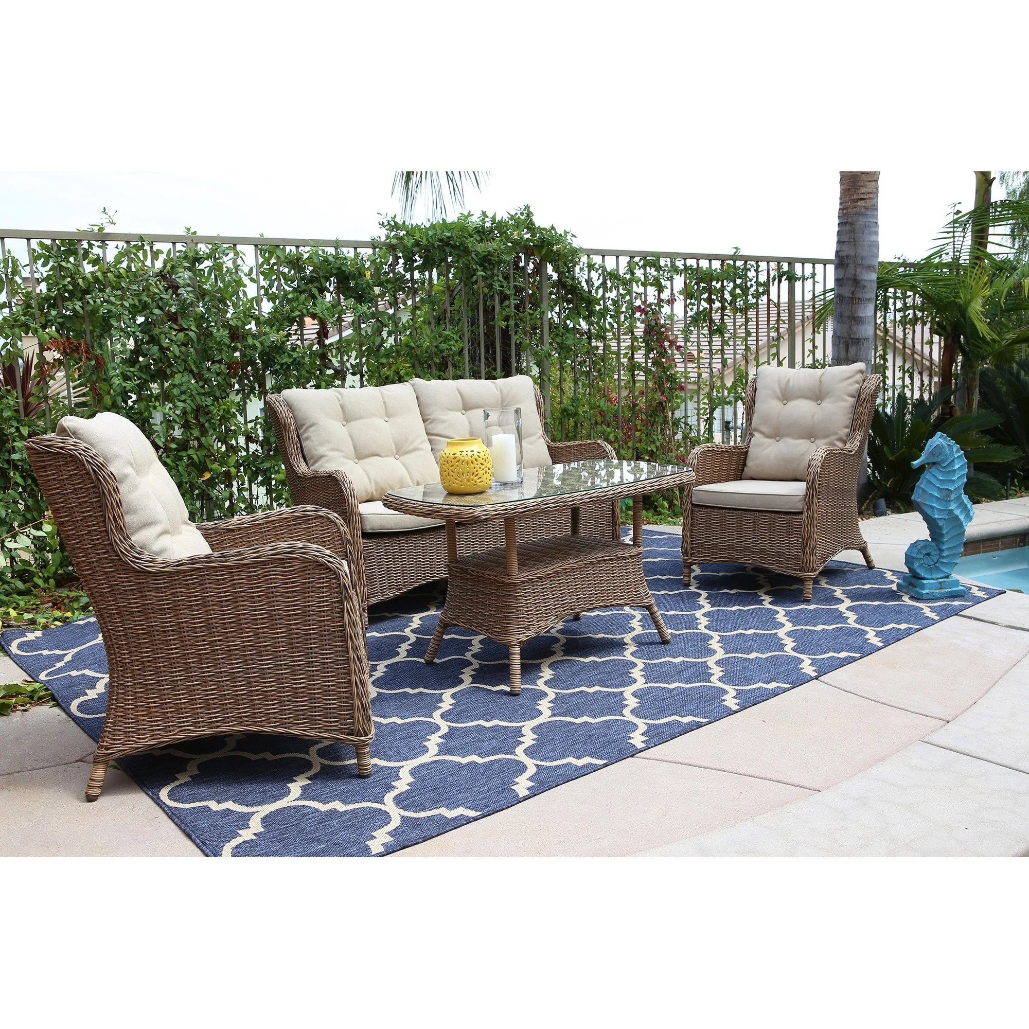 Shop Canterbury 4 Piece Outdoor Wicker Conversation Set Cream Cushions Overstock 17740826 - Royal Garden Furniture Clearance