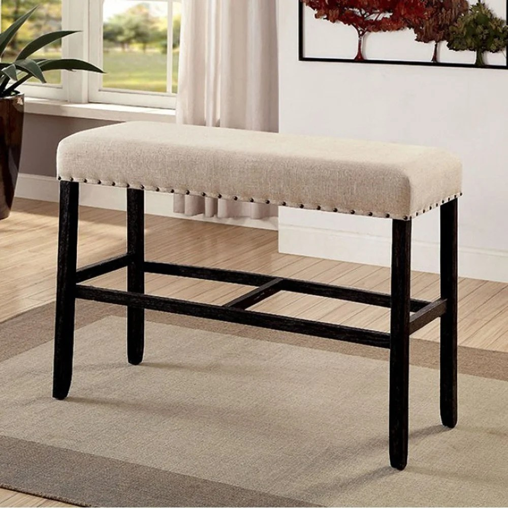 Rustic Style Bar Sania Ii Rustic Style Bar Bench Antique Black And Ivory