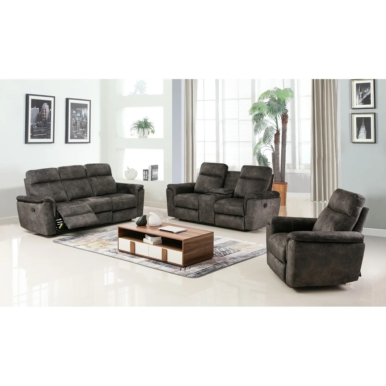 Modern Living Room Recliners Gu Industries Palomino Fabric Upholstered 3 Piece Living Room Recliner Sets