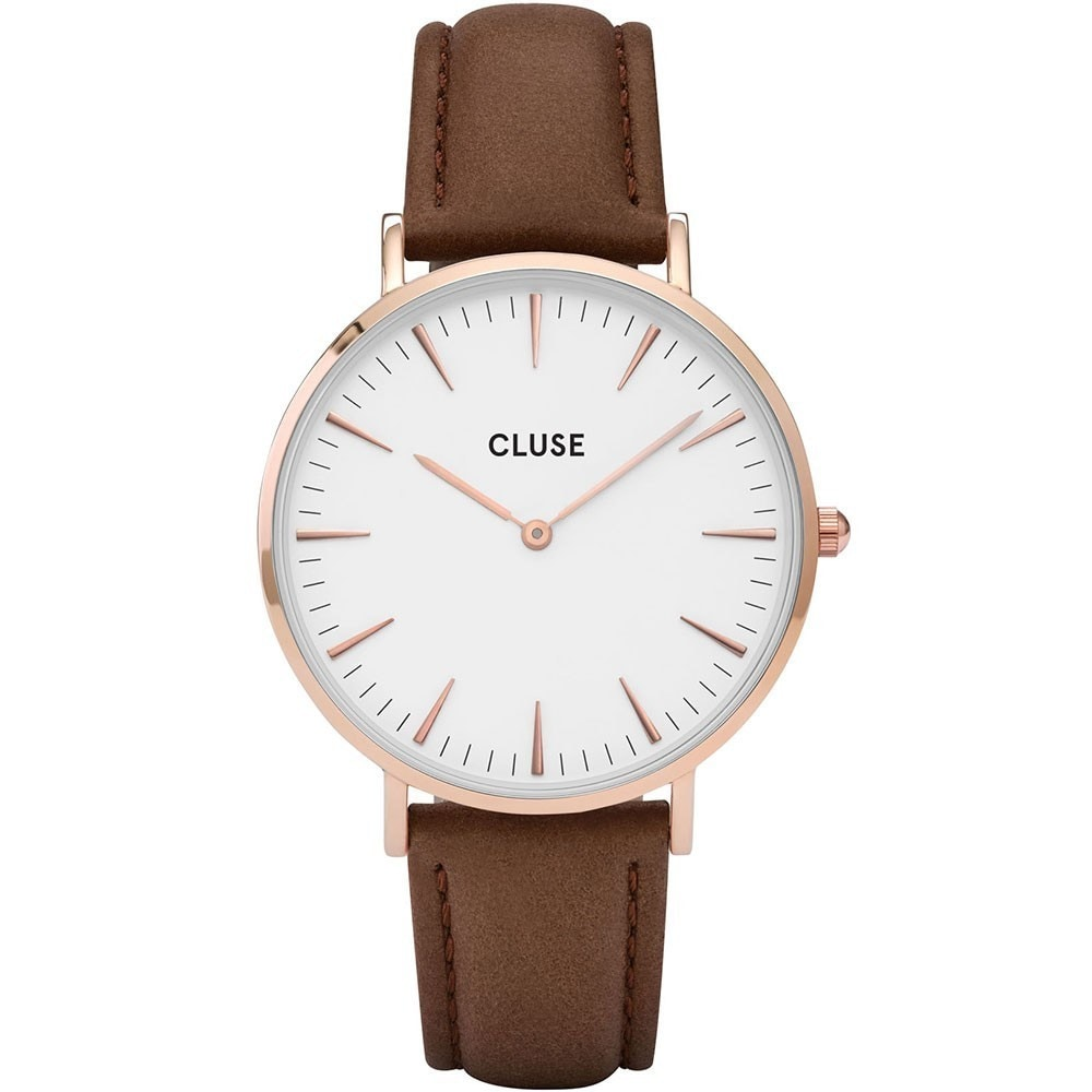 Leather Strap Rose Gold Watch Cluse La BohÈme Women S Cl18010 Brown Leather Strap White Dial Rose Gold Watch