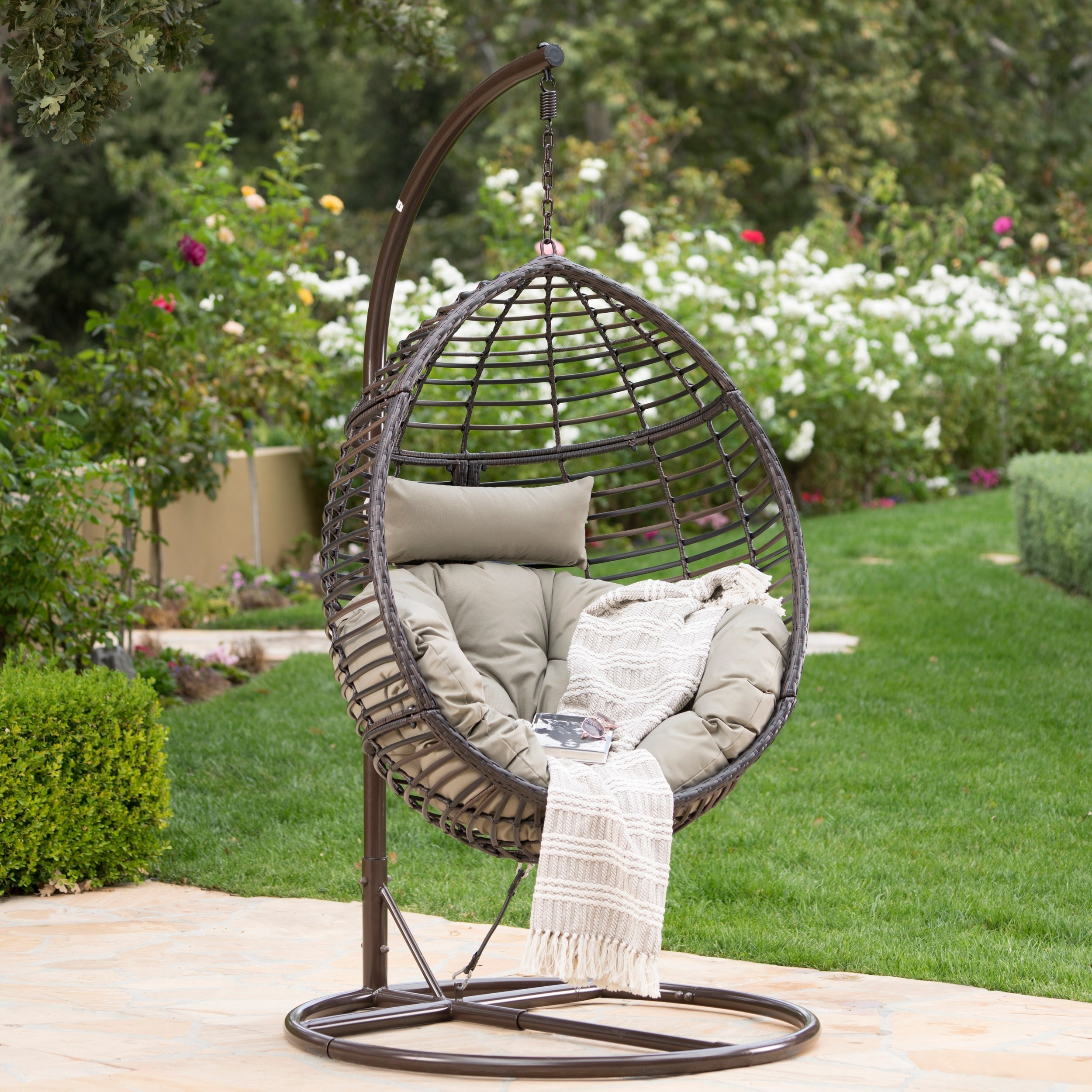 Hanging Outdoor Chairs Layla Outdoor Wicker Hanging Basket Chair With Cushions By Christopher Knight Home