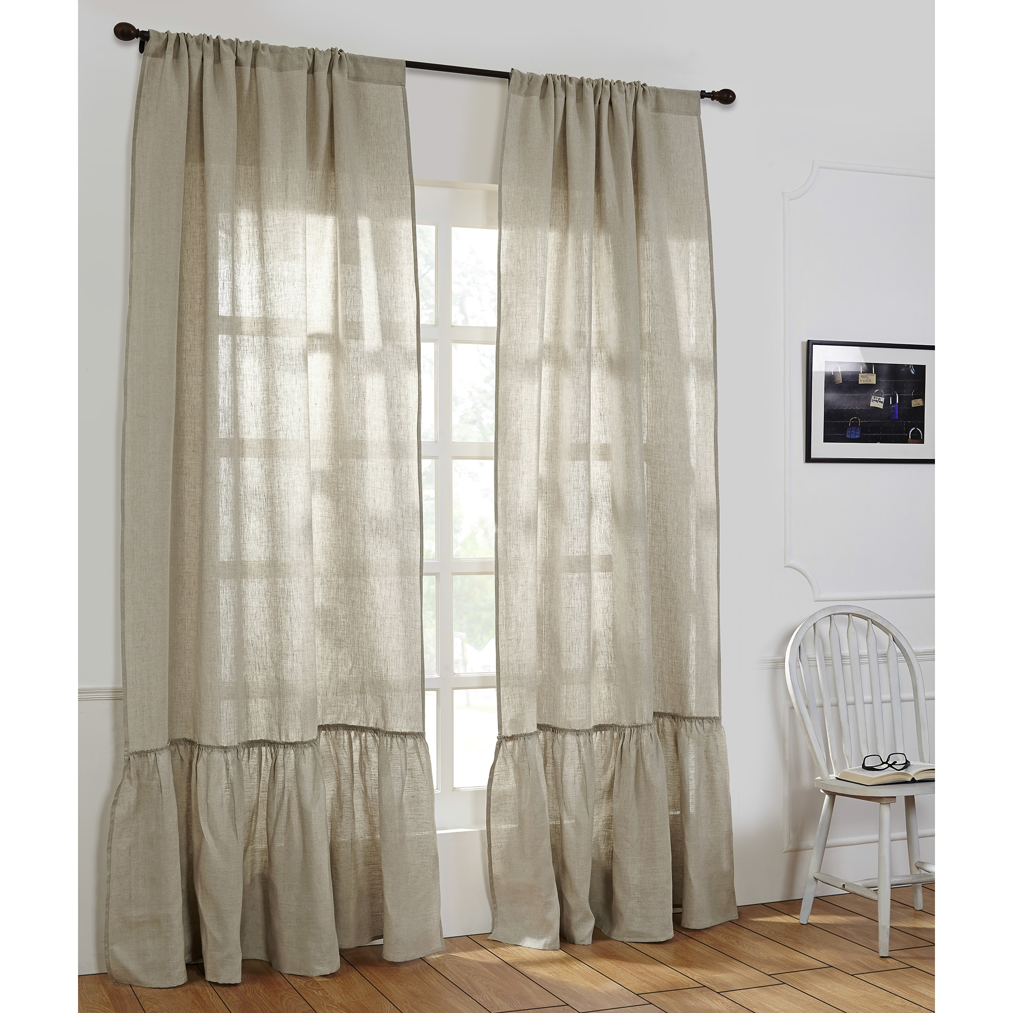 Ruffle Curtain Panel Camille Linen Ruffled Window Curtain Panel Single