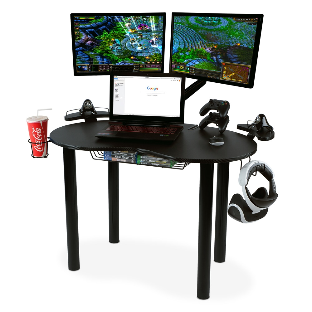 Computer Gaming Desk Atlantic Eclipse Gaming Desk With Black Steel Legs Black Carbon Fiber Texture Top And Accessory Hooks